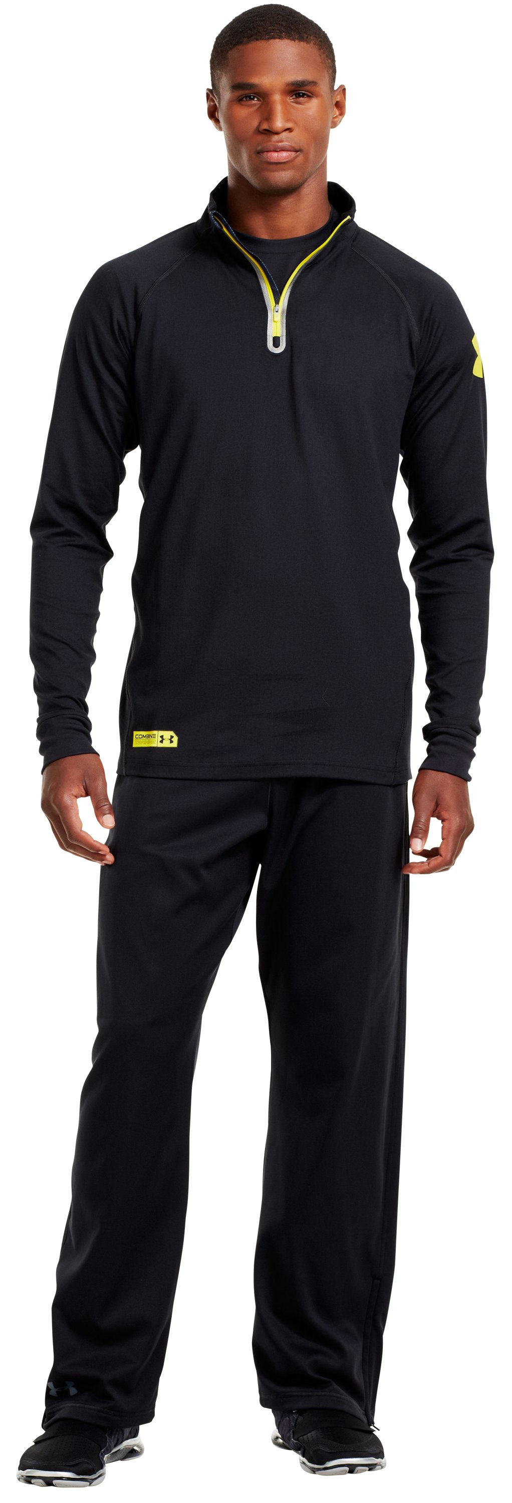 Men's UA Combine® Training ColdGear® Infrared ¼ Zip, Black , zoomed image