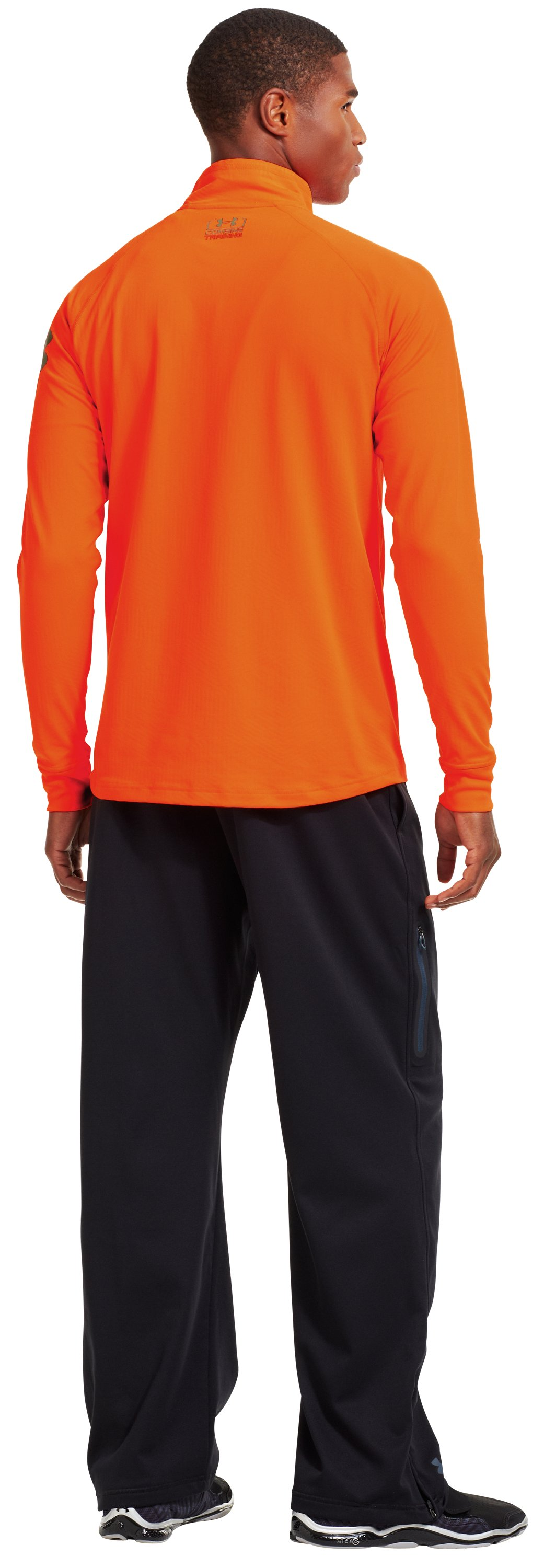 Men's UA Combine® Training ColdGear® Infrared ¼ Zip, Blaze Orange, Back