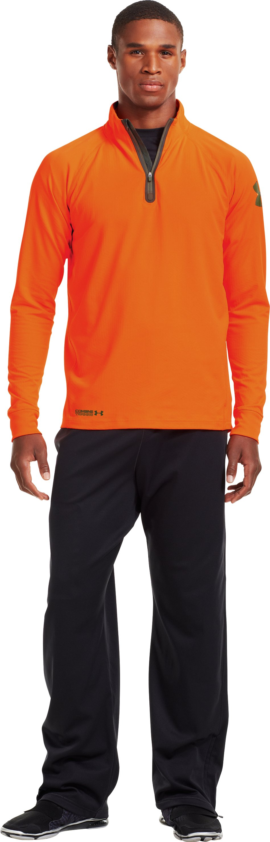 Men's UA Combine® Training ColdGear® Infrared ¼ Zip, Blaze Orange, Front