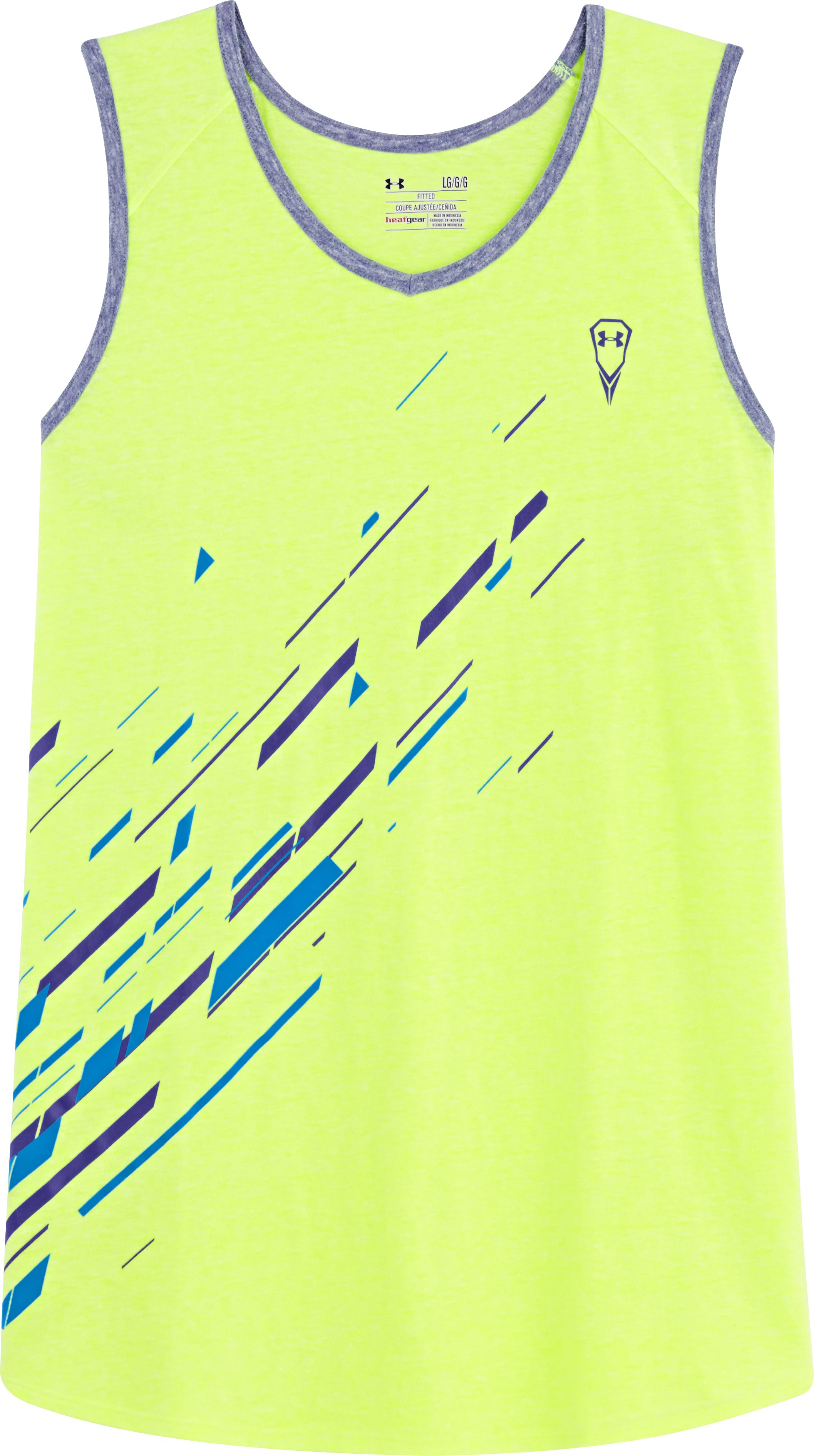 Men's UA Two-Tone Timmy Tank, High-Vis Yellow, Laydown