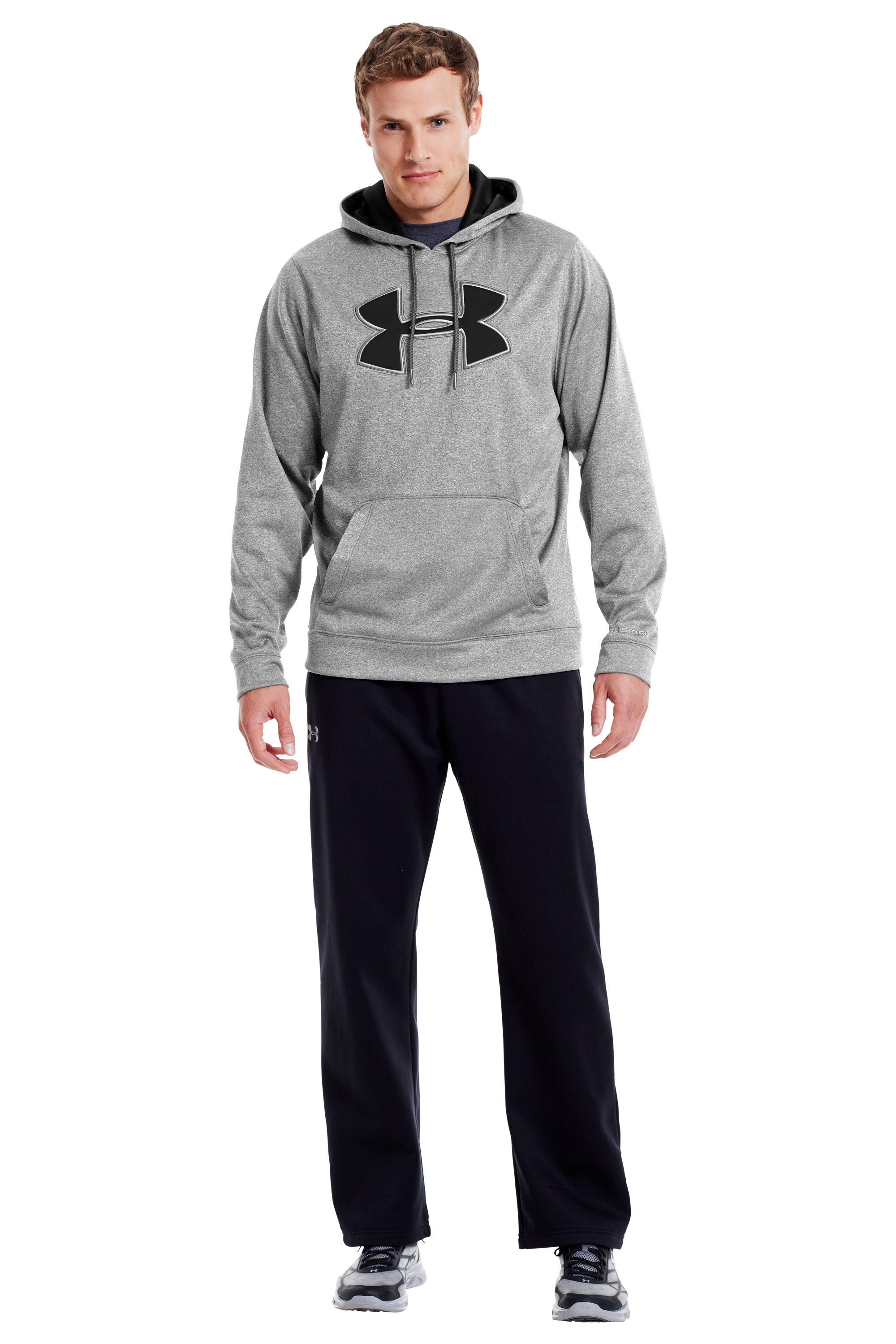 Men's UA Storm Armour® Fleece Big Logo Hoodie, True Gray Heather, Front