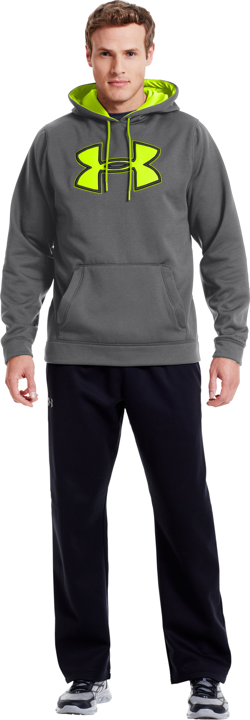 Men's UA Storm Armour® Fleece Big Logo Hoodie, Graphite, Front