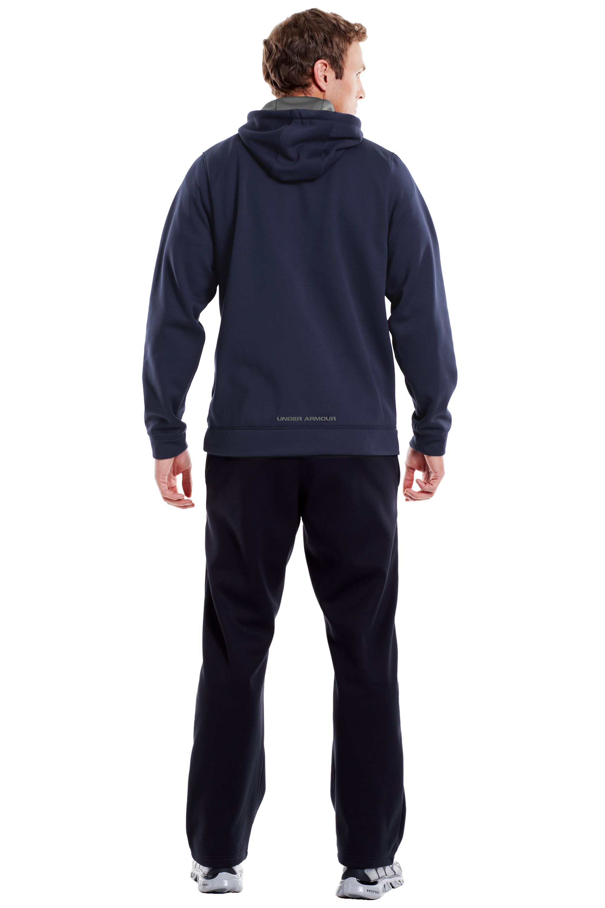 Men's UA Storm Armour® Fleece Big Logo Hoodie, Midnight Navy, Back