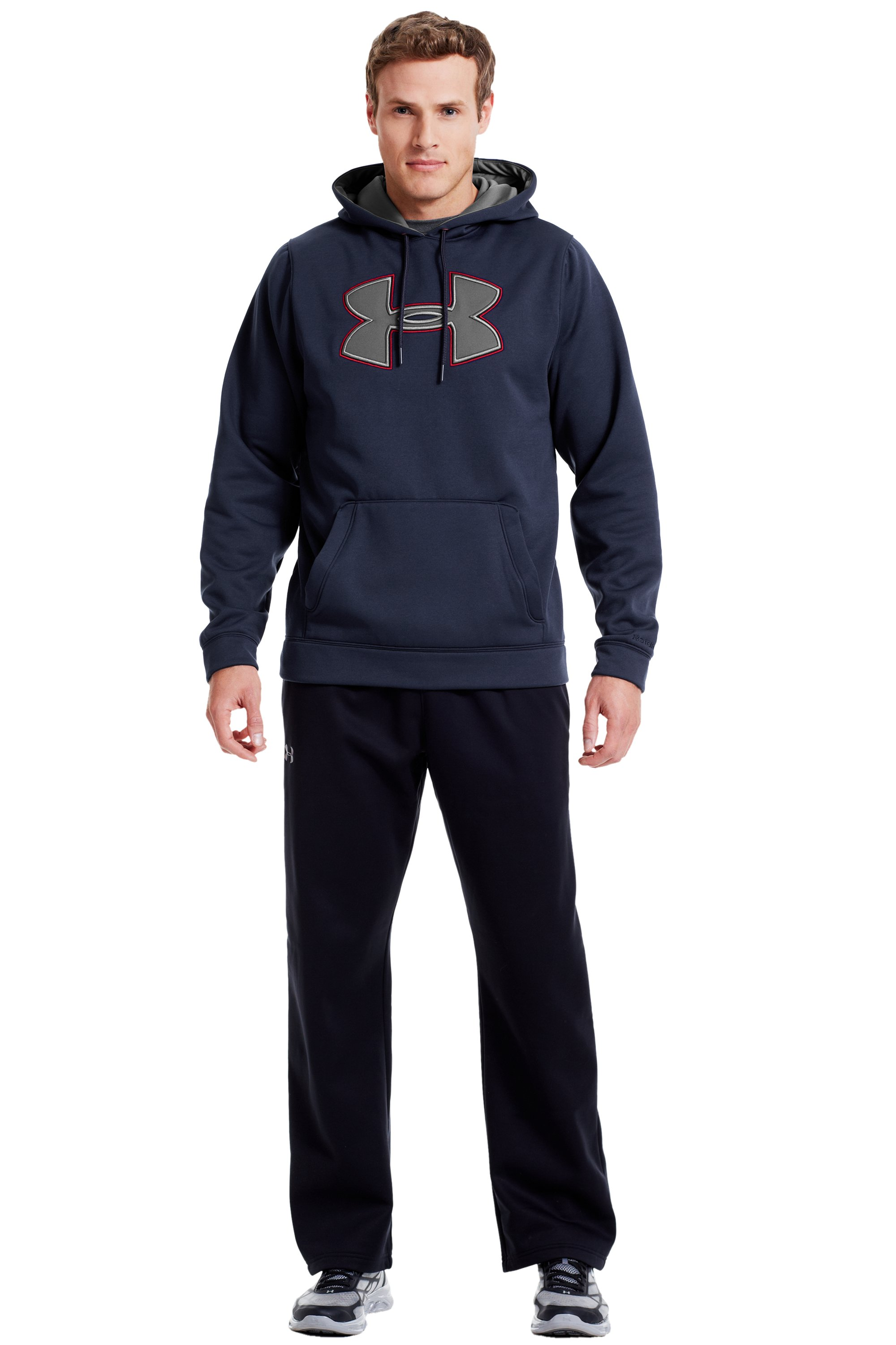 Men's UA Storm Armour® Fleece Big Logo Hoodie, Midnight Navy, Front