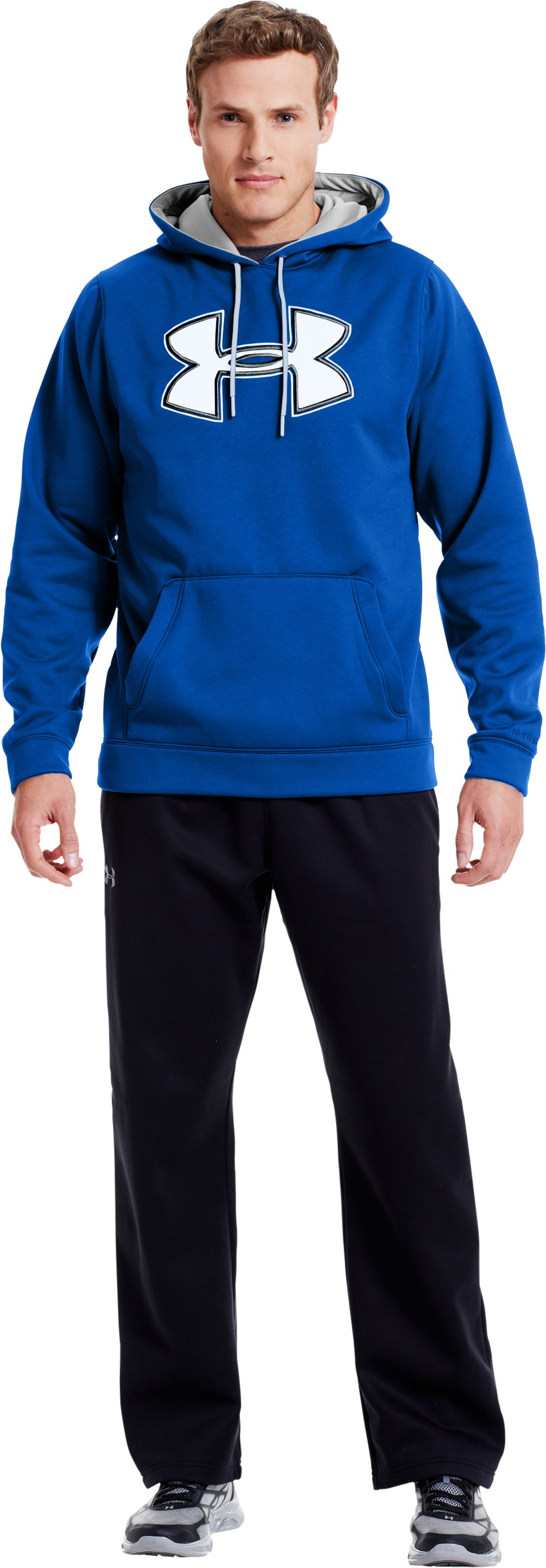 Men's UA Storm Armour® Fleece Big Logo Hoodie, Moon Shadow, Front