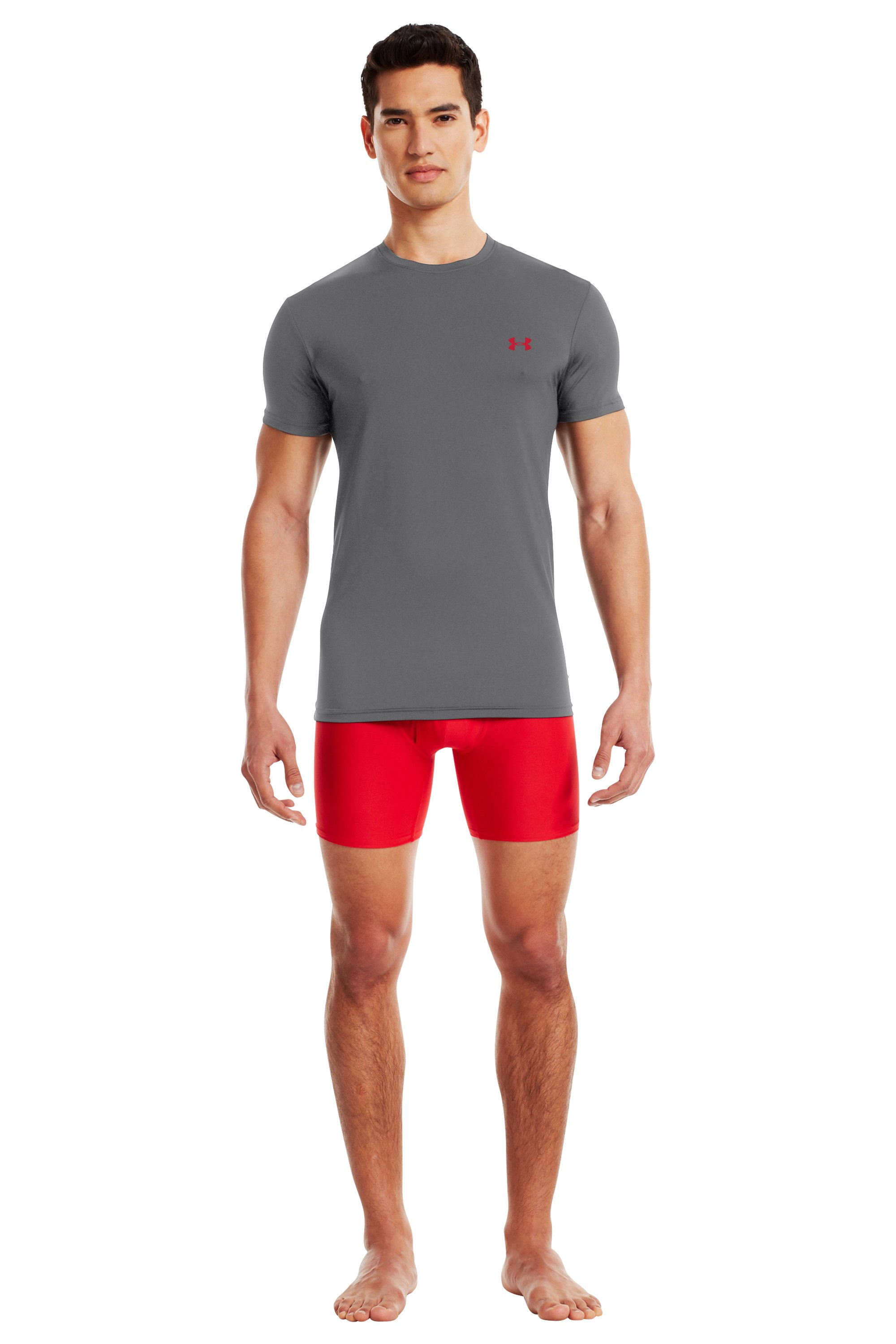 Men's UA HeatGear® Flyweight Crew Undershirt, Graphite
