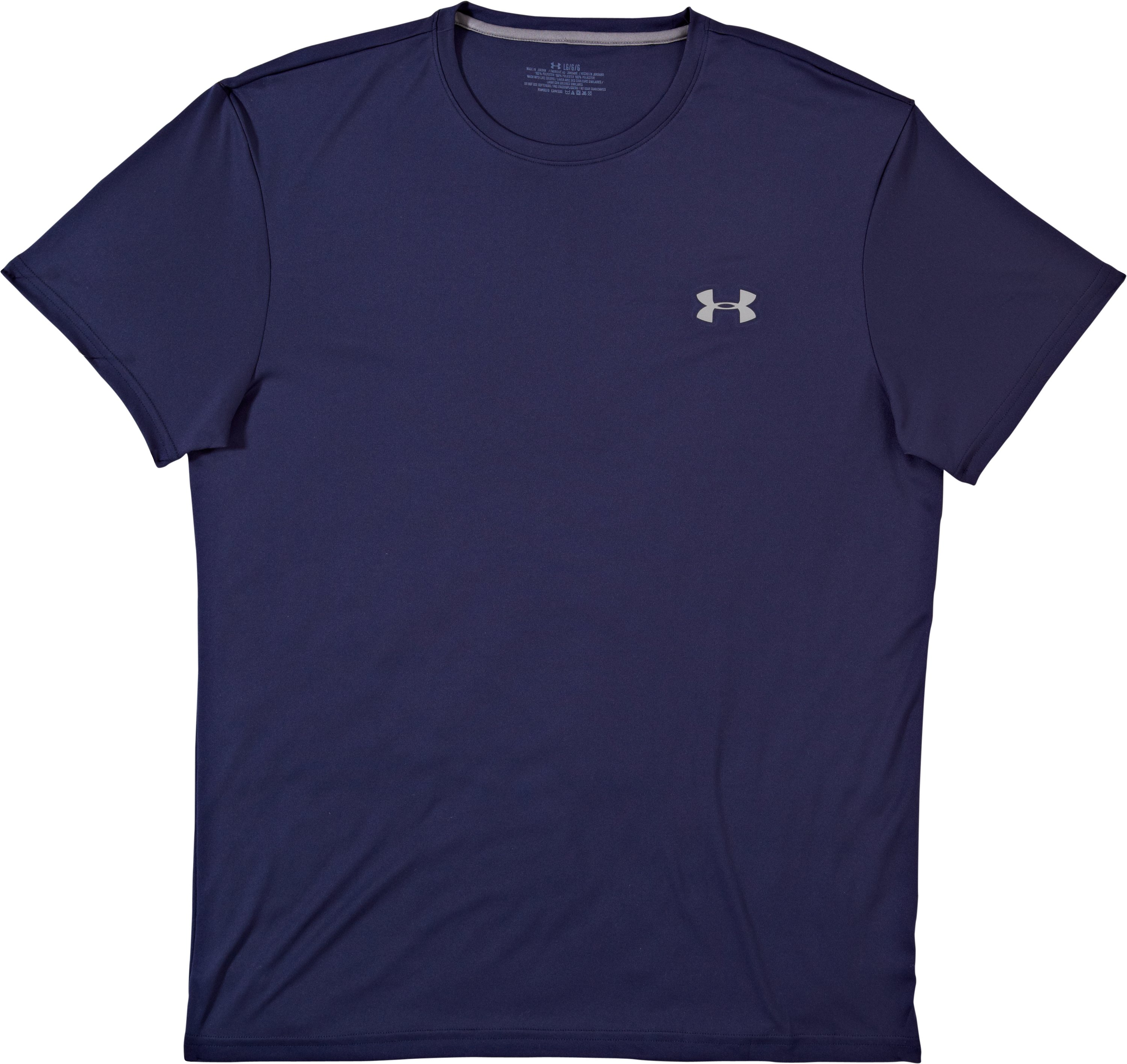 Men's UA HeatGear® Flyweight Crew Undershirt, Midnight Navy, Laydown