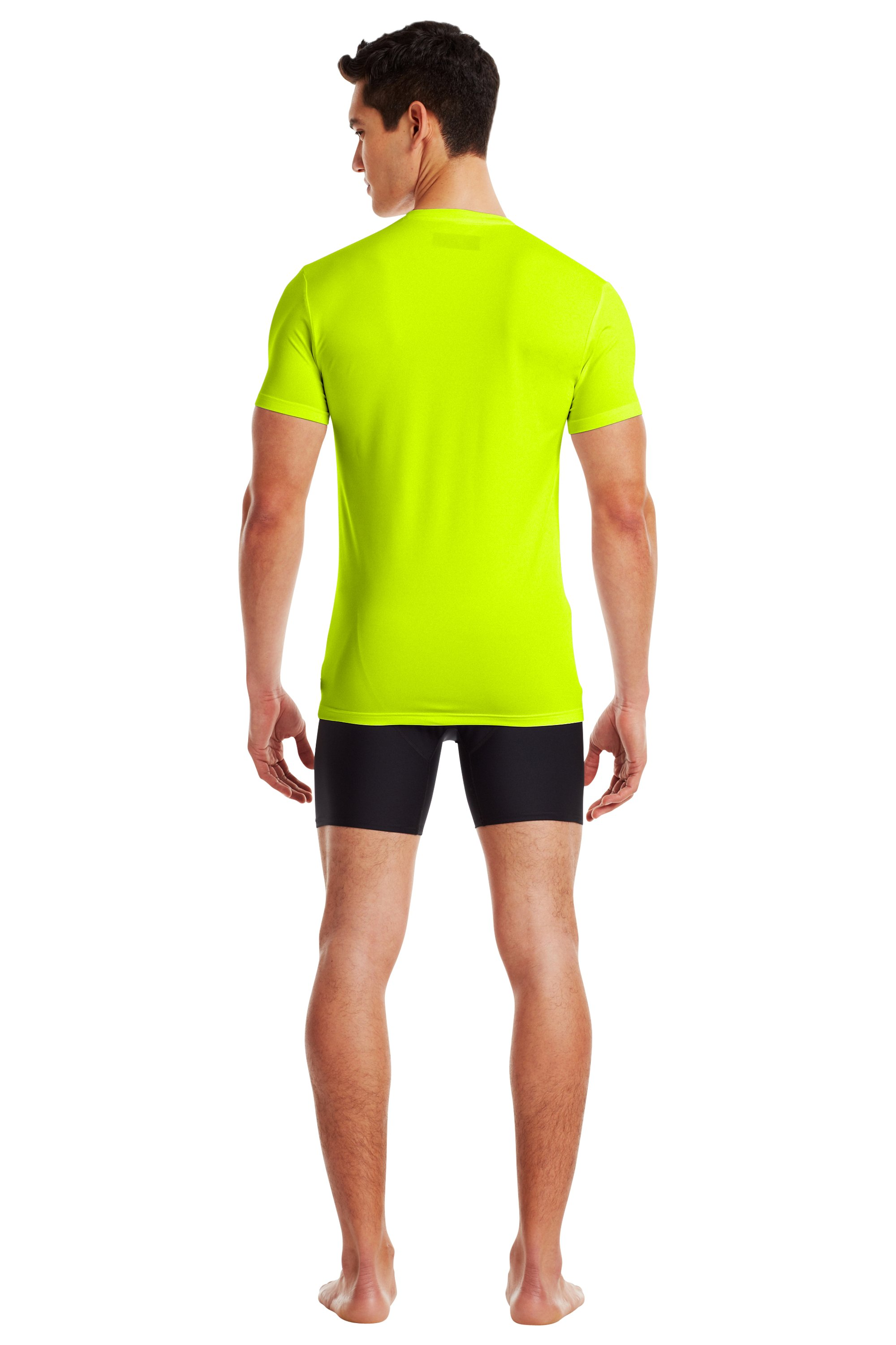 Men's UA HeatGear® Flyweight Crew Undershirt, High-Vis Yellow, Back