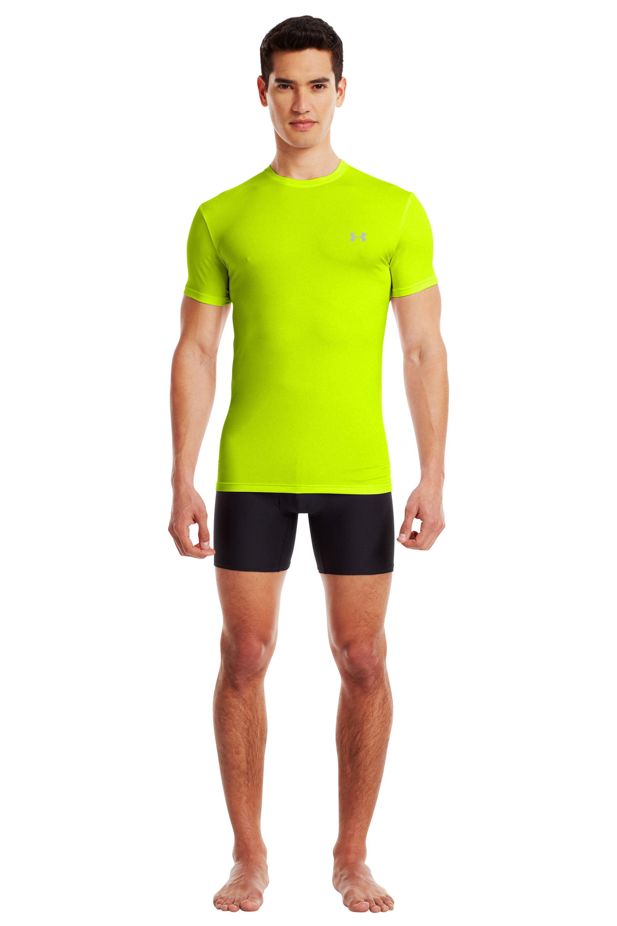 Men's UA HeatGear® Flyweight Crew Undershirt, High-Vis Yellow, Front