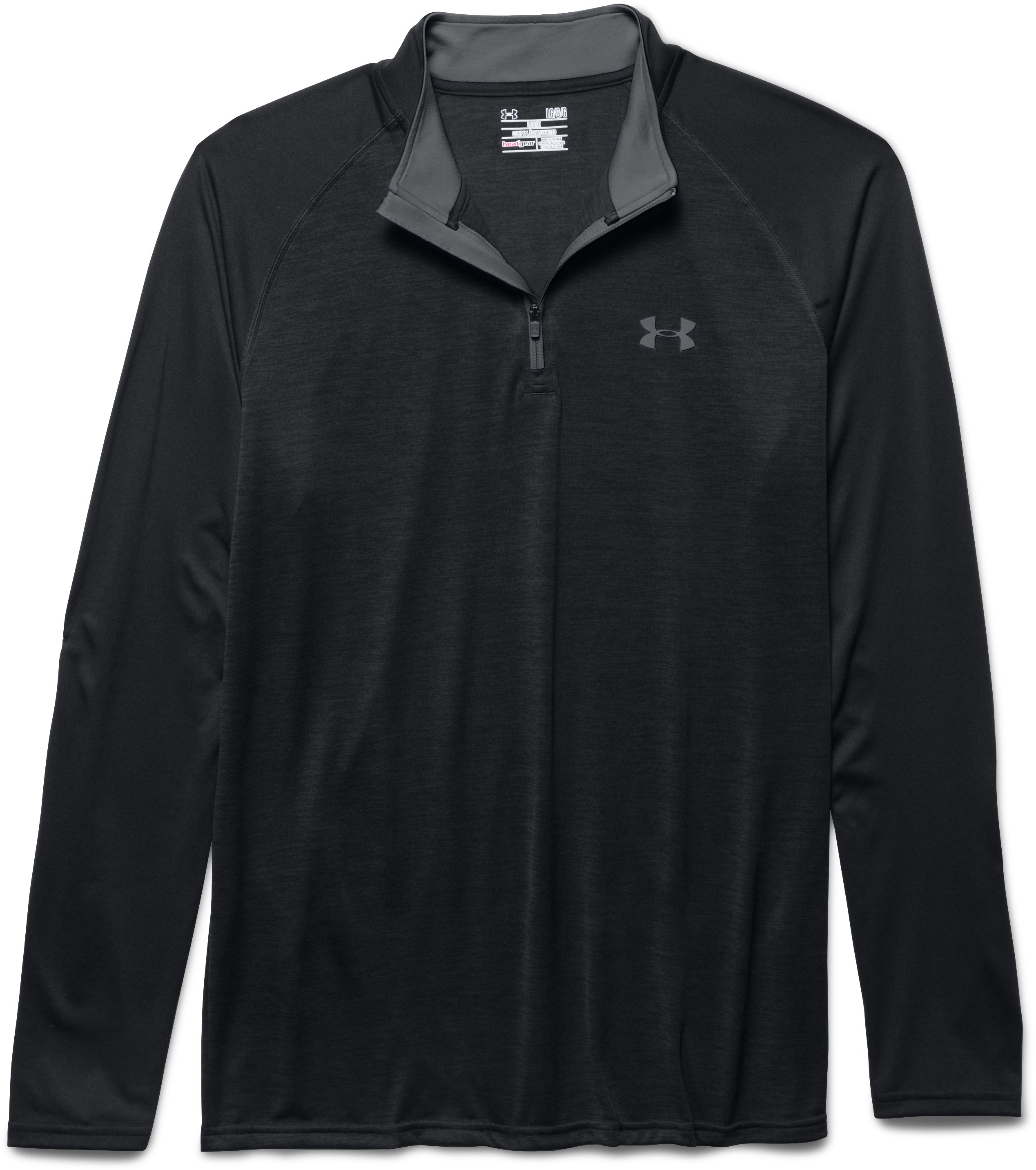 Men's UA Tech™ ¼ Zip, Black , Laydown