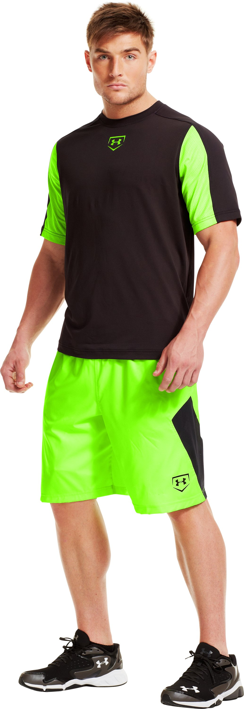 Men's UA CTG Baseball Training Shorts, HYPER GREEN, zoomed image