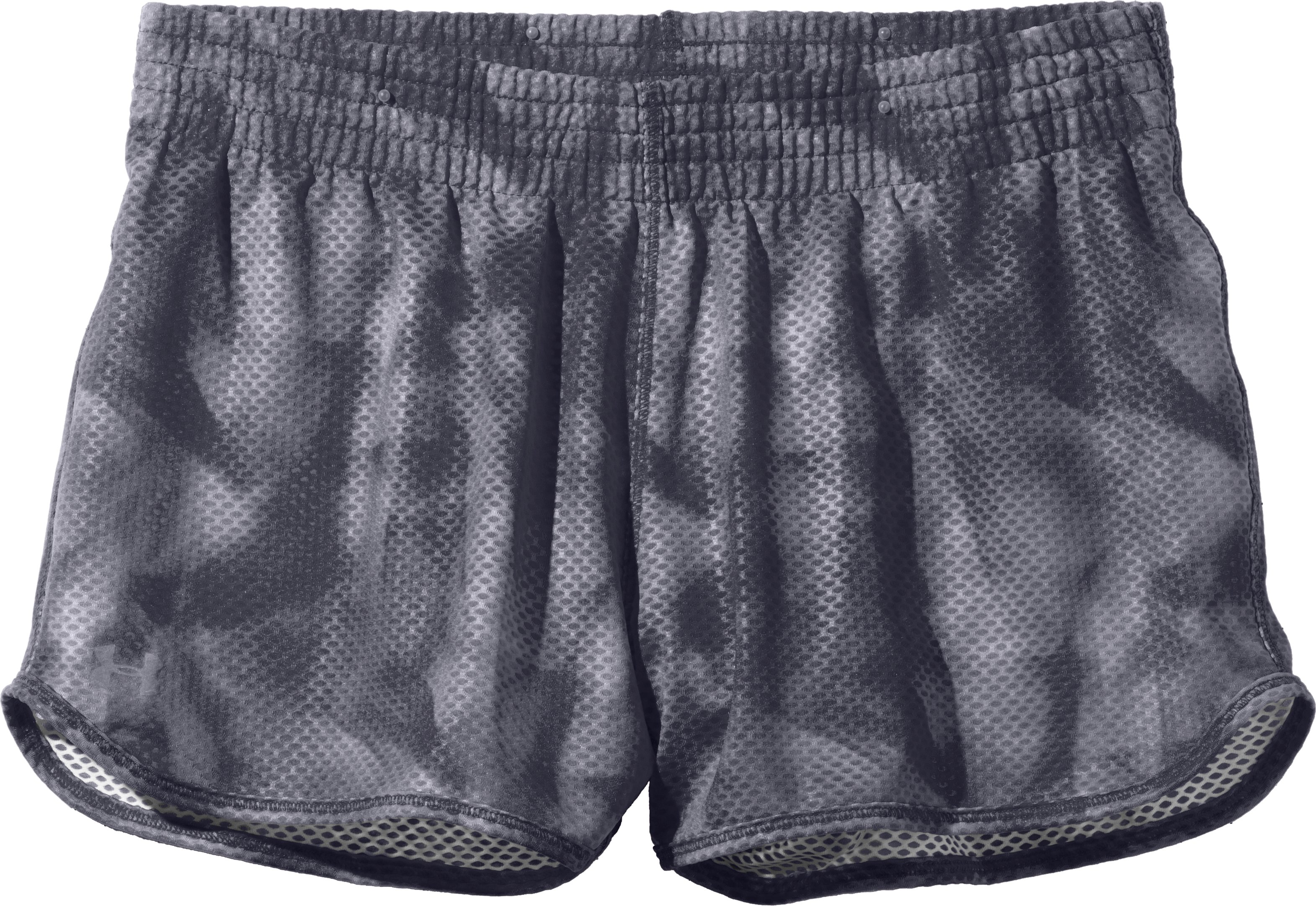Women's UA Fly-By Printed Knit Short, Lead, Laydown