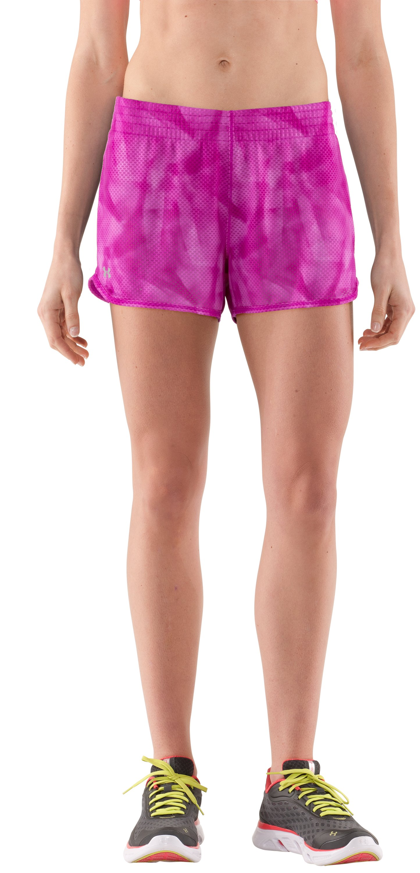 Women's UA Fly-By Printed Knit Short, STROBE, zoomed image