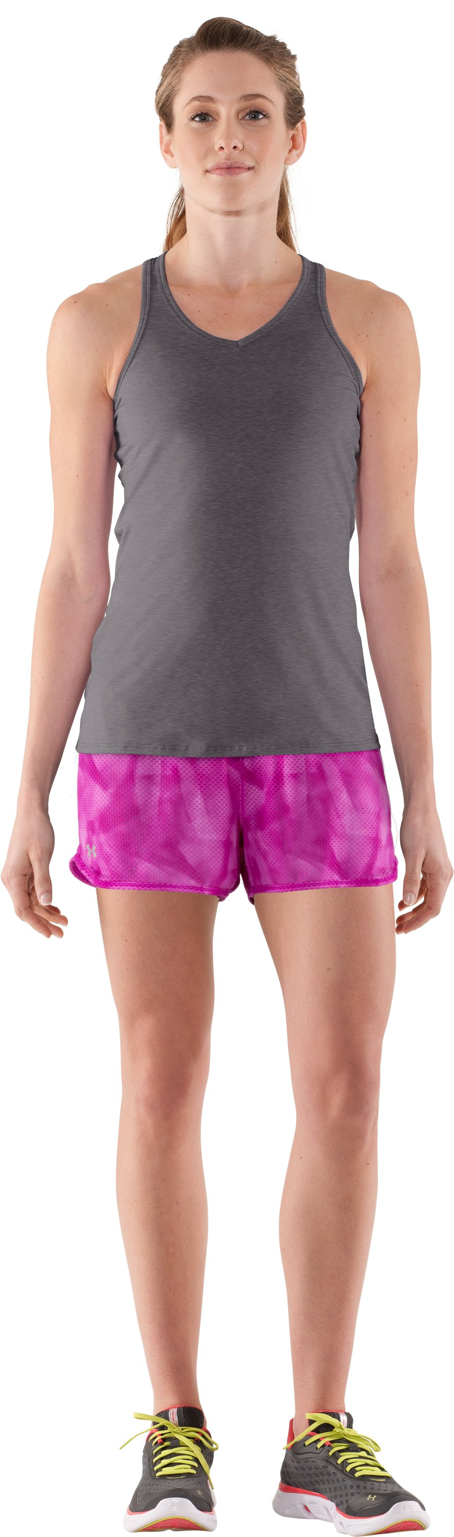 Women's UA Fly-By Printed Knit Short, STROBE, Front