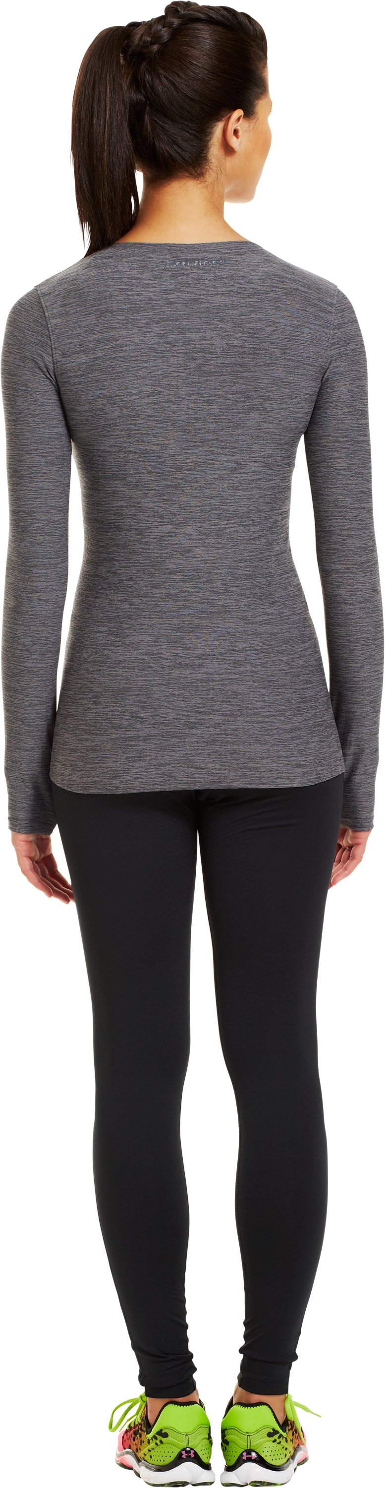 Women's ColdGear® Infrared V-Neck Long Sleeve, Carbon Heather, Back