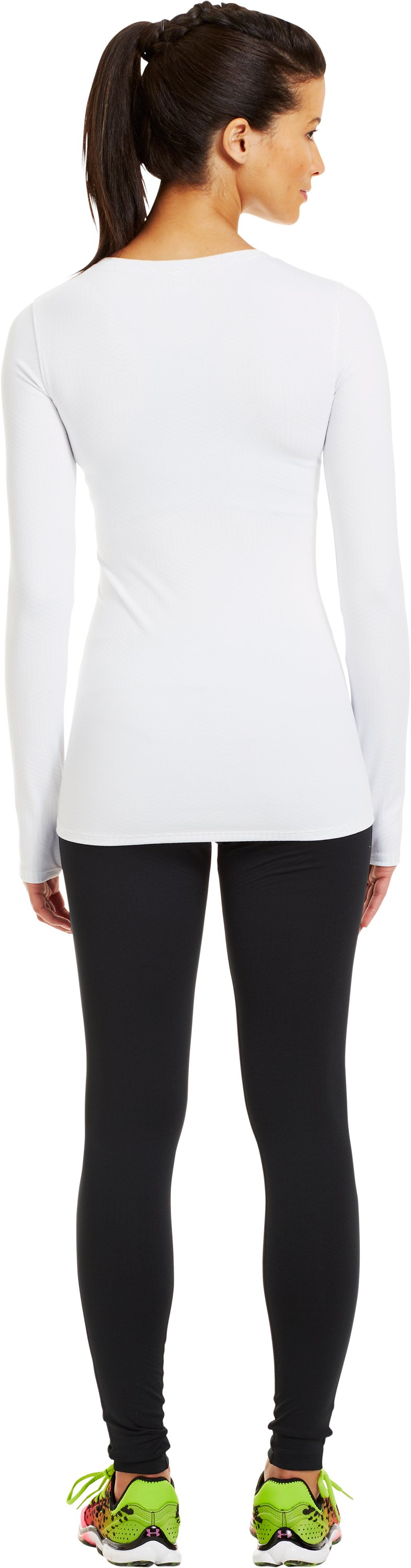 Women's ColdGear® Infrared V-Neck Long Sleeve, White, Back