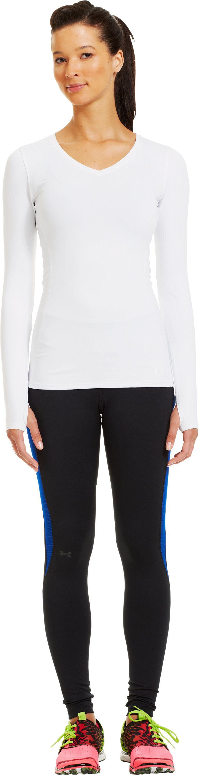 Women's ColdGear® Infrared V-Neck Long Sleeve, White, Front