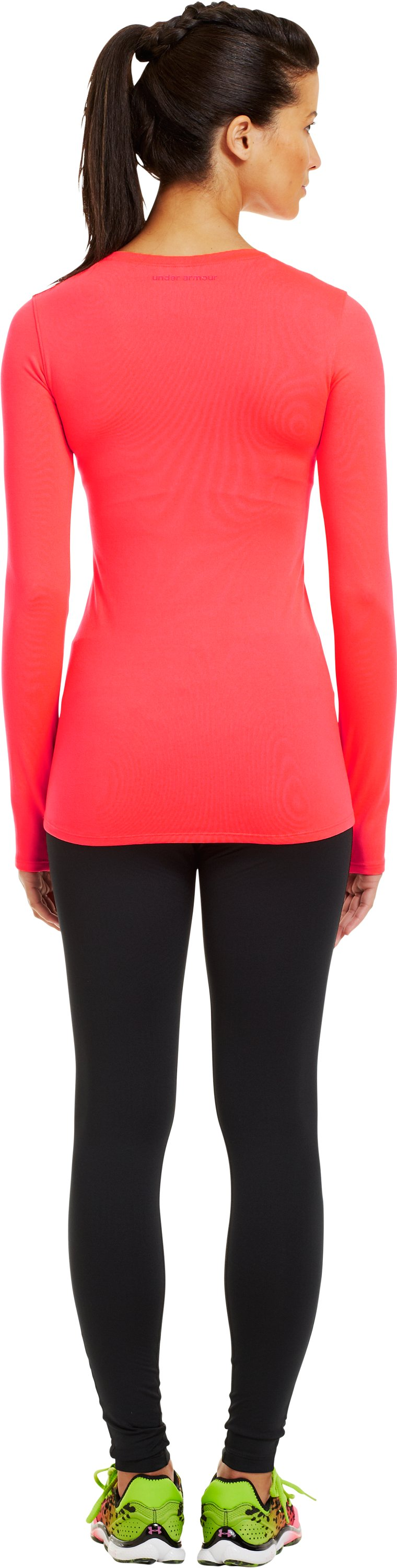 Women's ColdGear® Infrared V-Neck Long Sleeve, Neo Pulse, Back