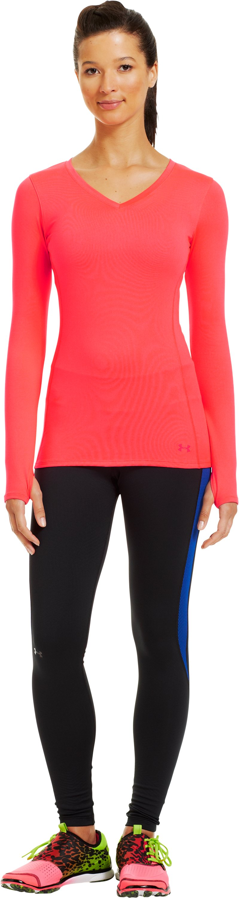 Women's ColdGear® Infrared V-Neck Long Sleeve, Neo Pulse, Front