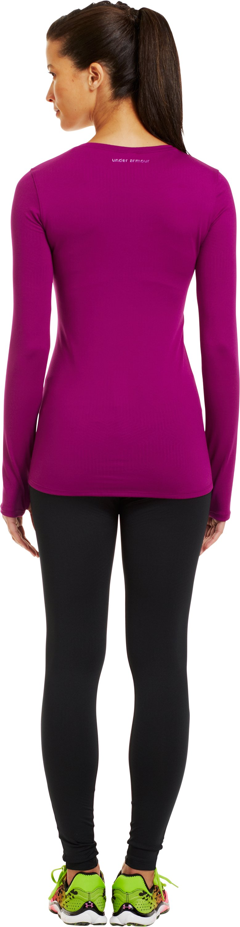 Women's ColdGear® Infrared V-Neck Long Sleeve, Aubergine, Back