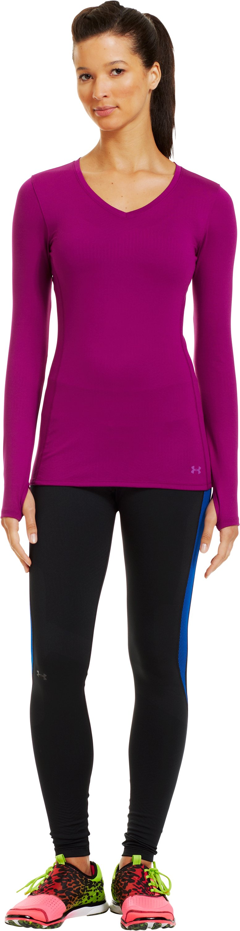 Women's ColdGear® Infrared V-Neck Long Sleeve, Aubergine, zoomed image