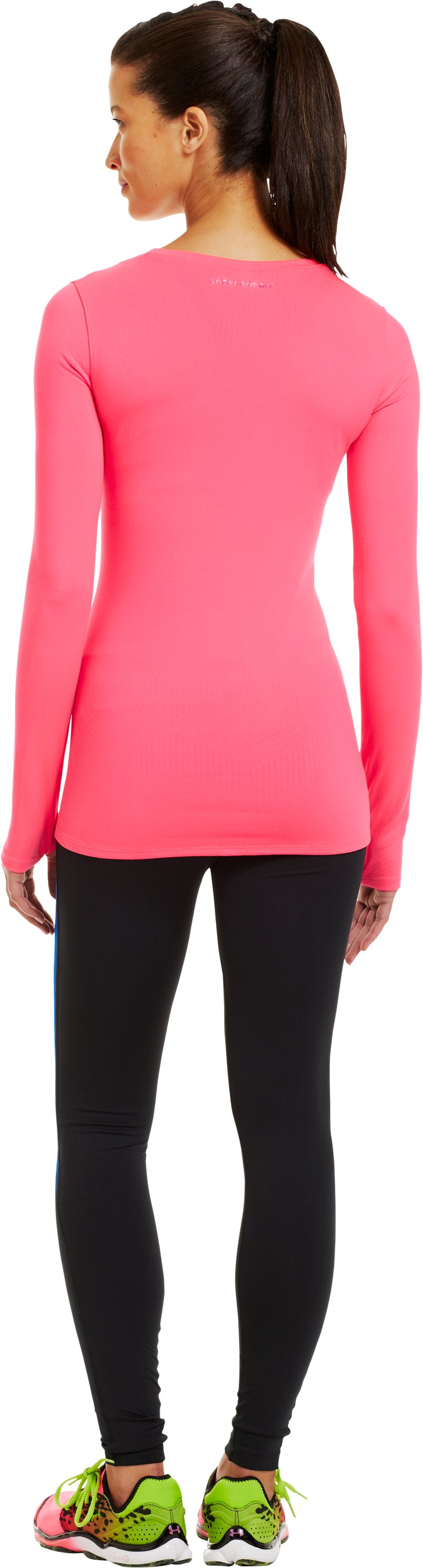 Women's ColdGear® Infrared V-Neck Long Sleeve, PINKADELIC, Back