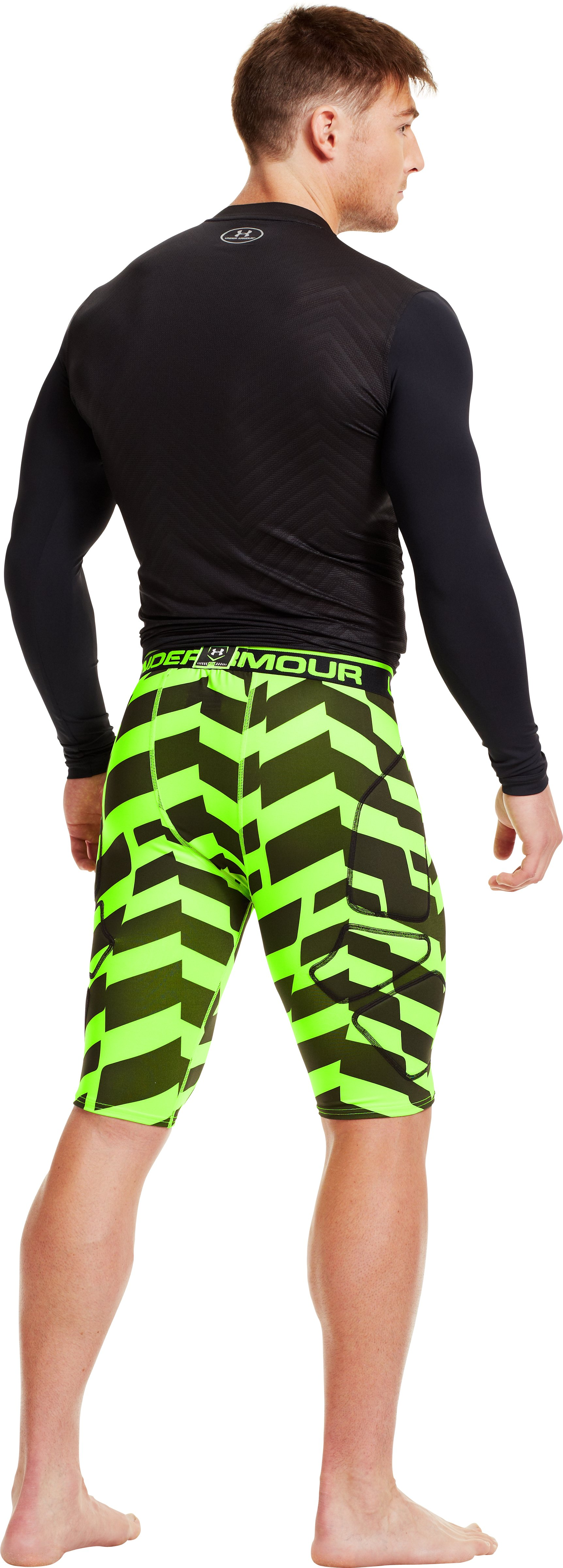 Men's UA Break Through Printed Baseball Slider, HYPER GREEN, Back
