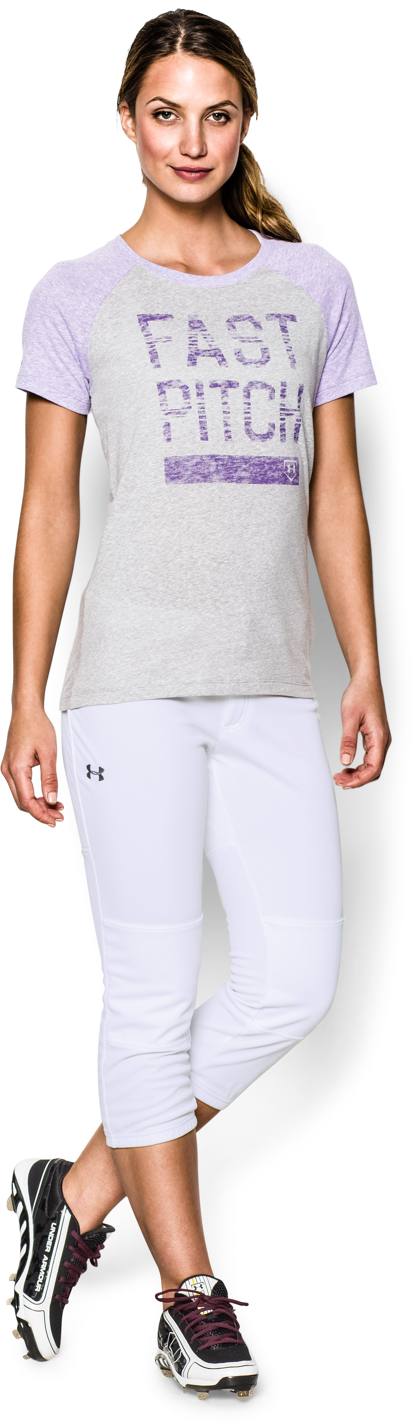 Women's UA Strike Zone Pant, White, Front