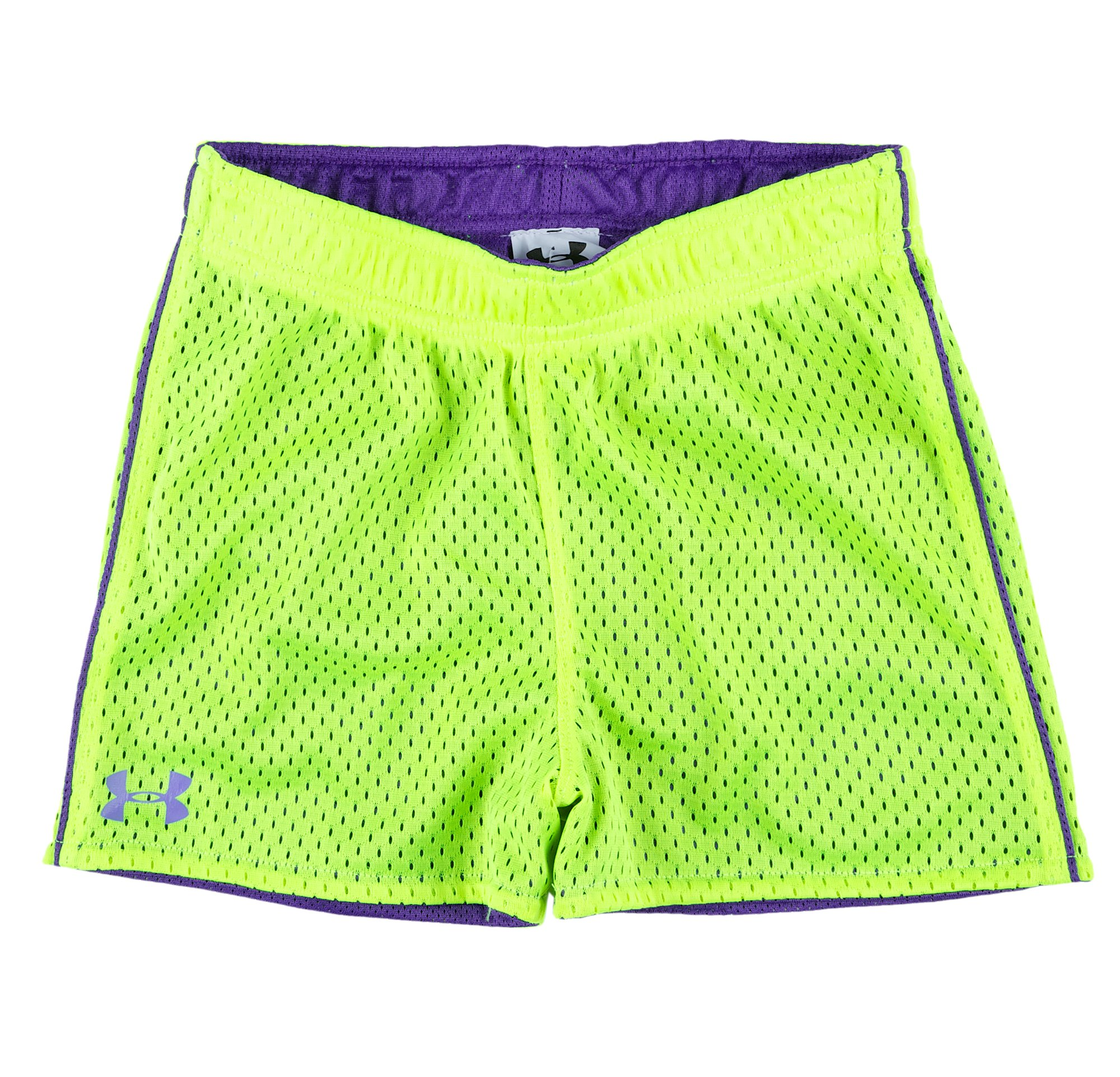 Girls' Pre-School UA Reversible Mesh Shorts, High-Vis Yellow, Laydown