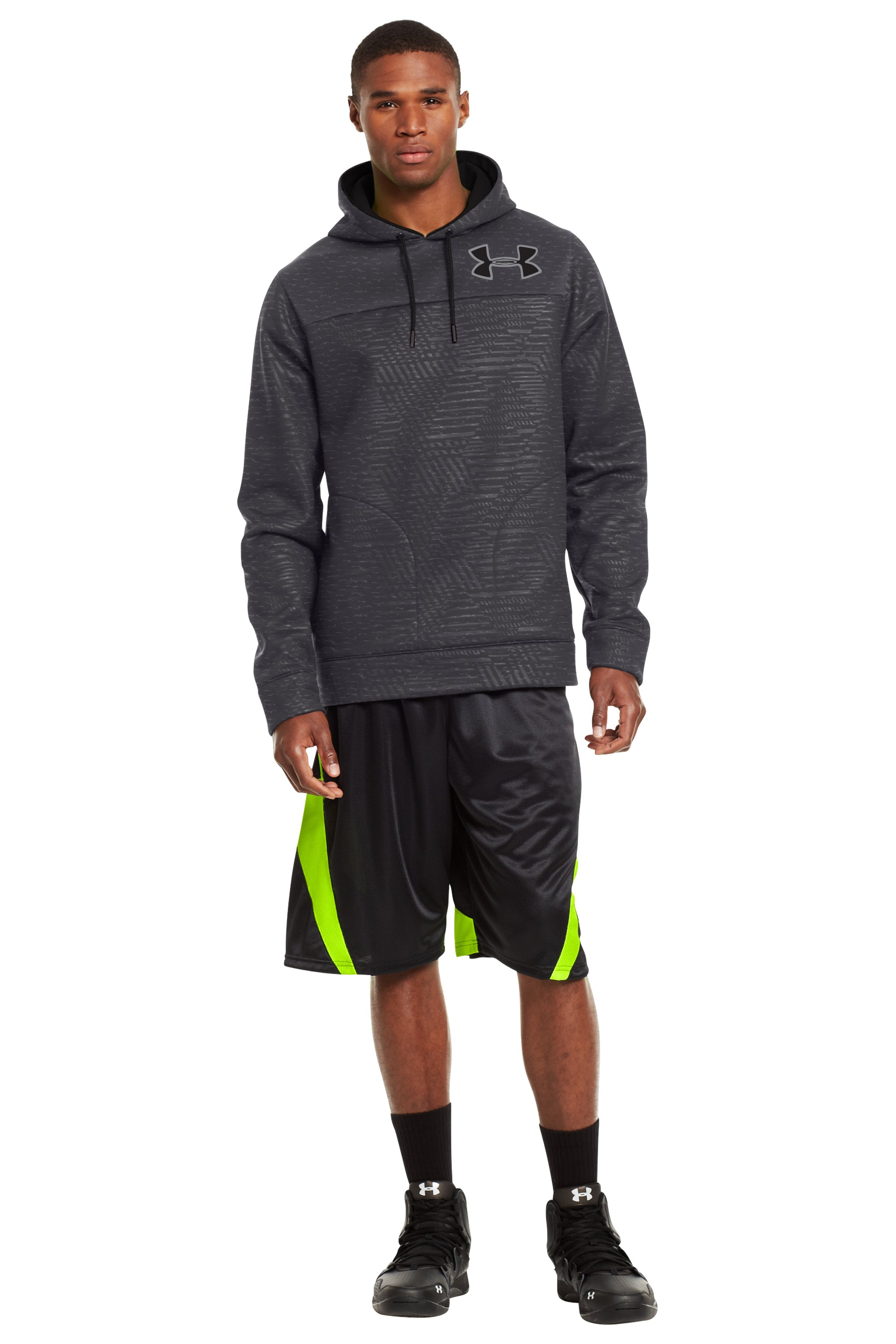 Men's Armour® Fleece Storm Eyenit Hoodie, Carbon Heather, Front
