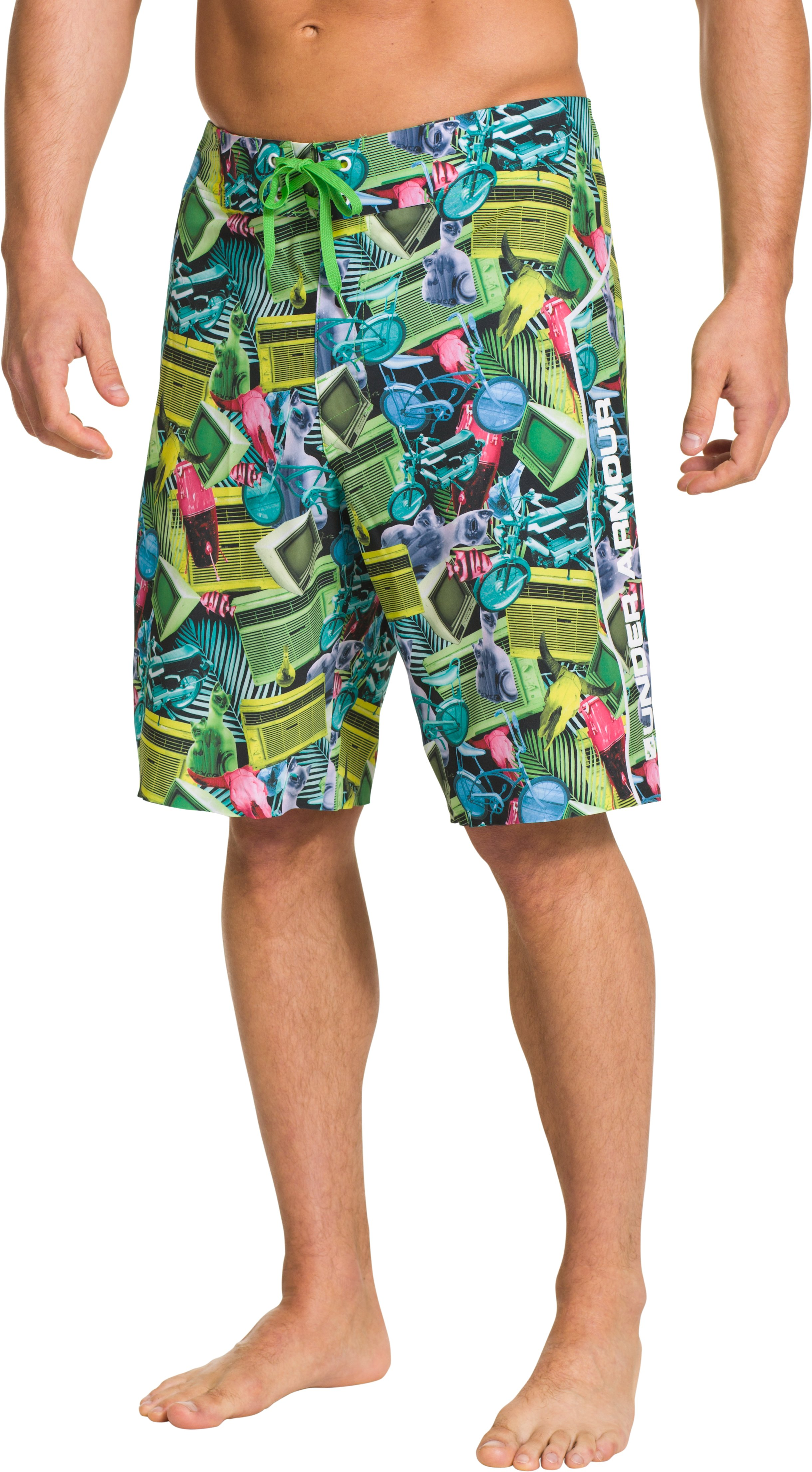 Men's UA Seaford Board Shorts, High-Vis Yellow, Front