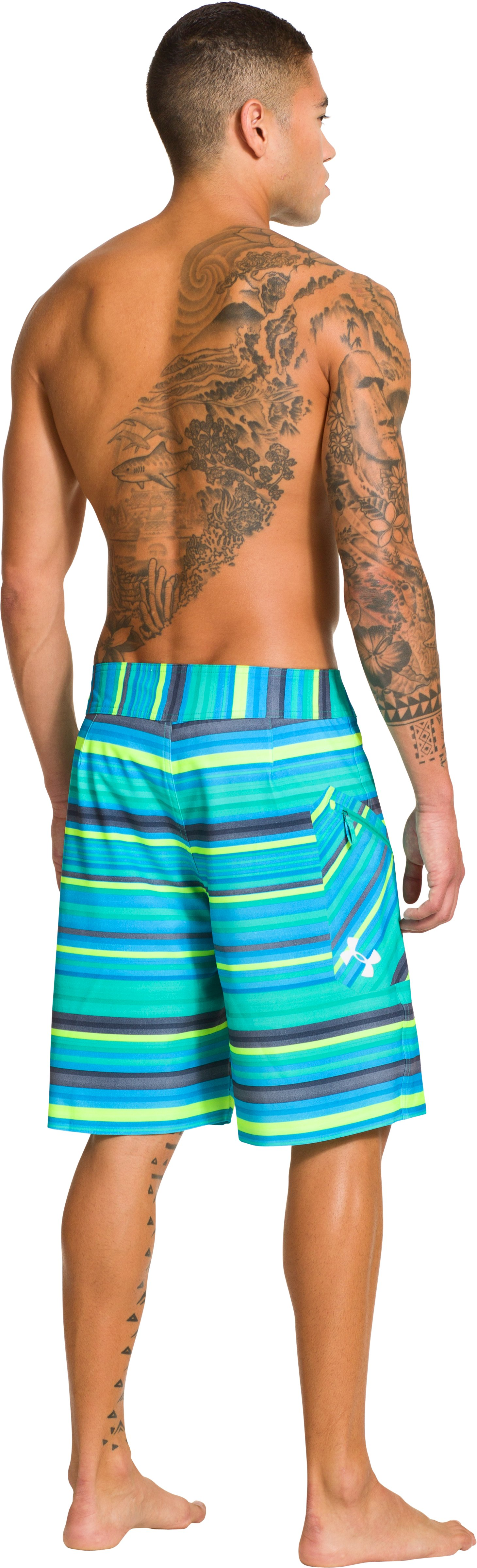 Men's UA Papara Boardshorts, Jade River, Back