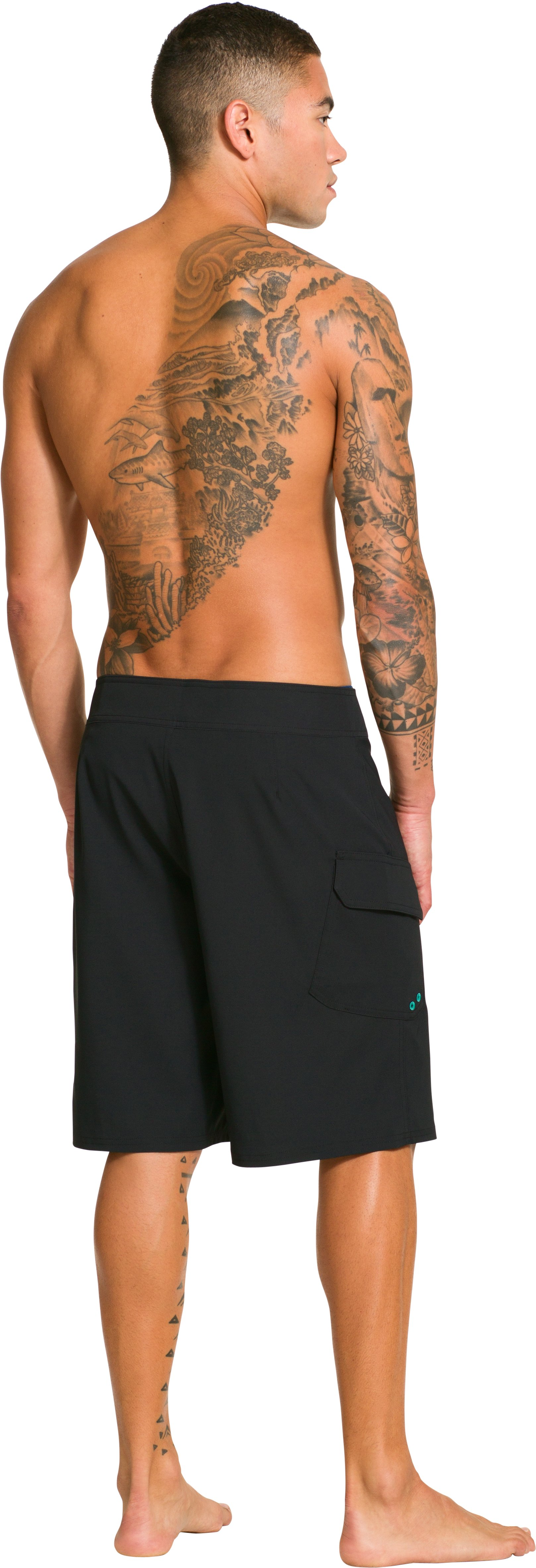 Men's UA Seagrit Boardshorts, Black , Back