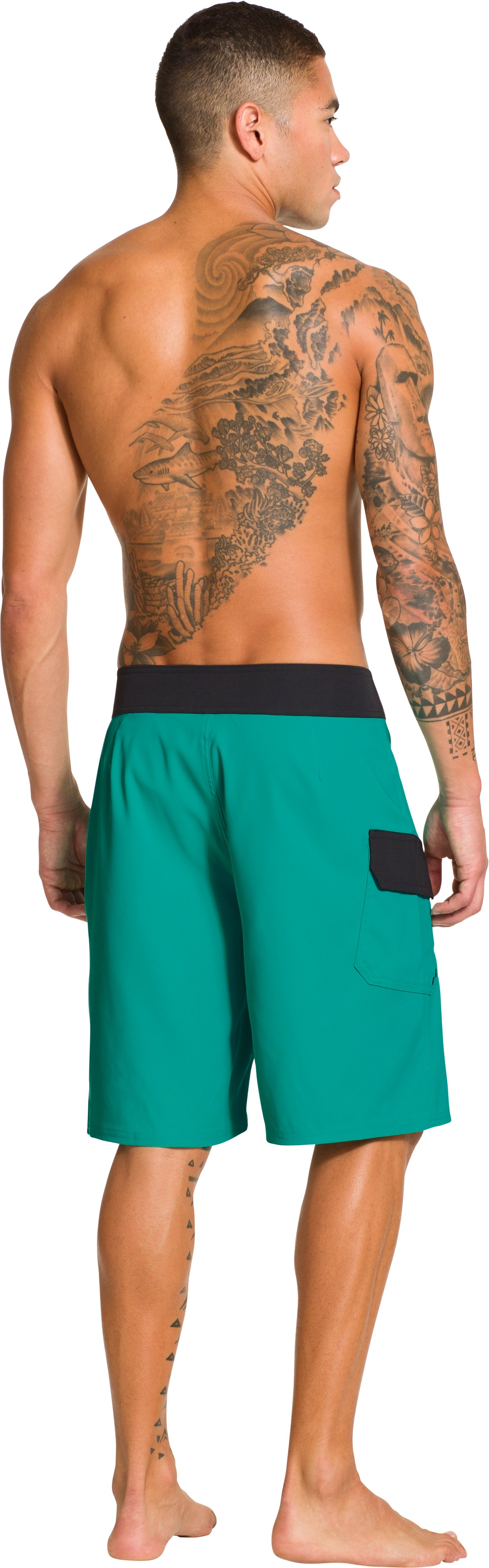 Men's UA Seagrit Boardshorts, Jade River, Back