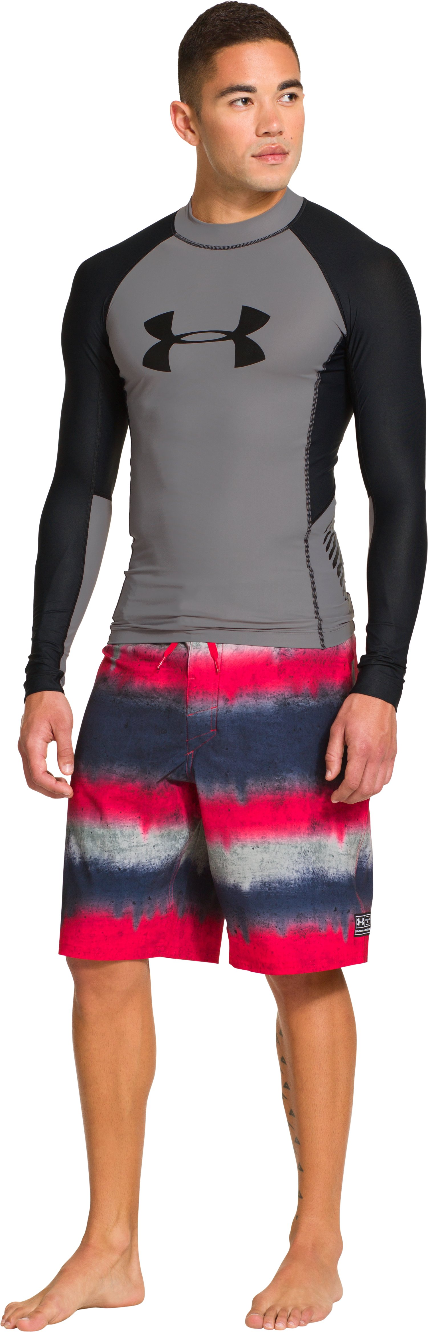 Men's UA Entendre Long Sleeve Rash Guard, Storm, Front