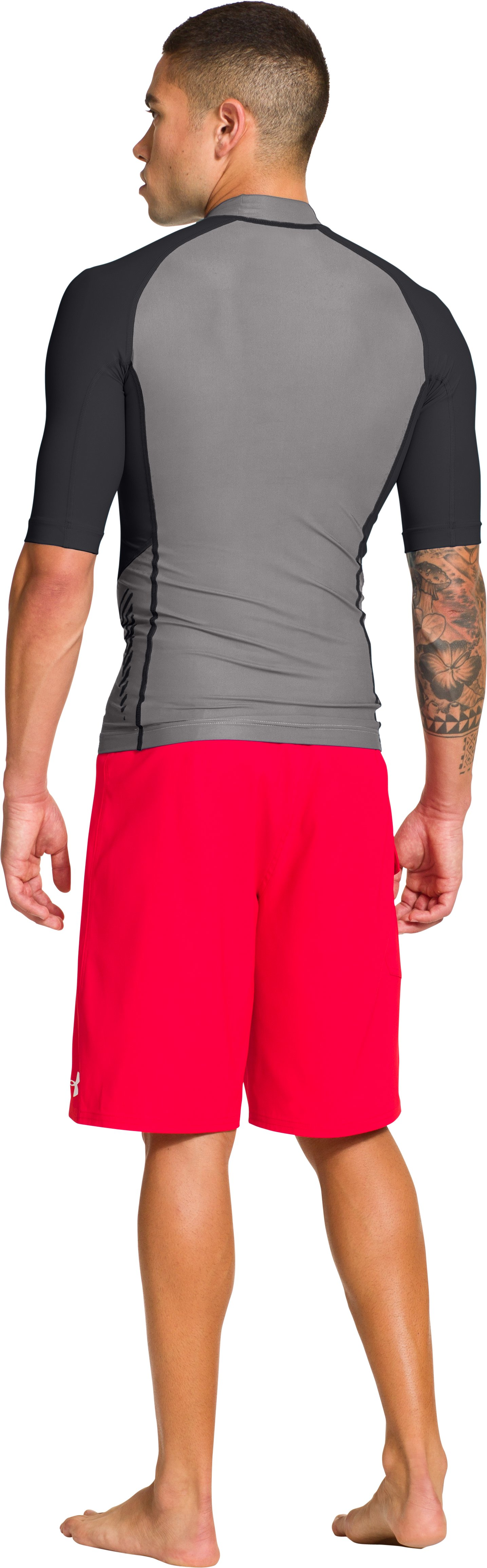 Men's UA Entendre Short Sleeve Rash Guard, Storm, Back