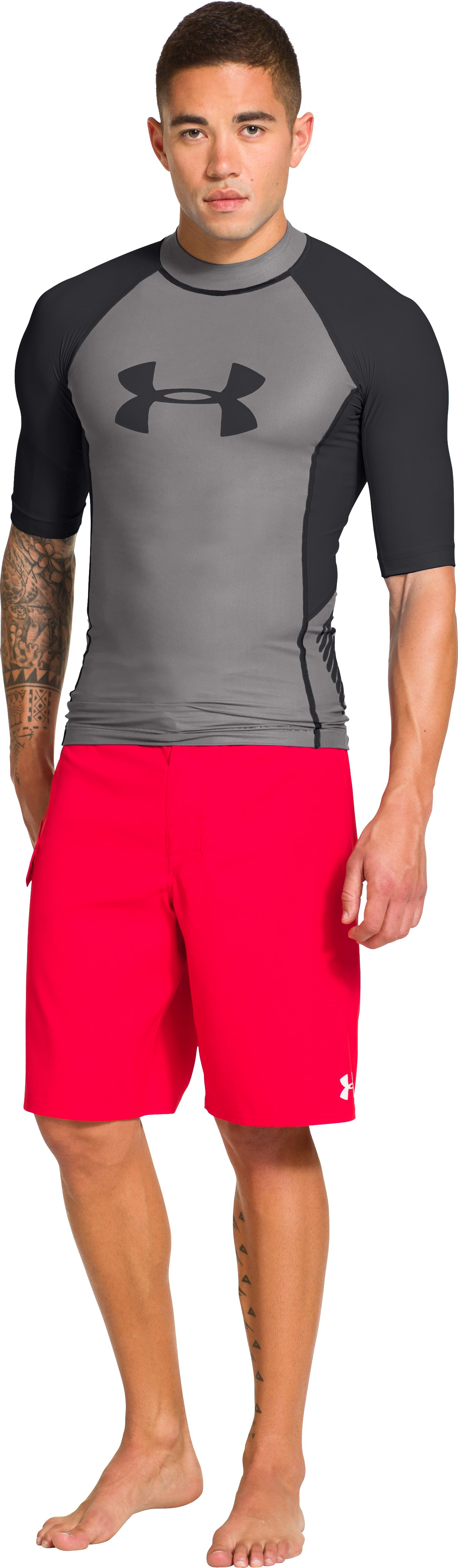 Men's UA Entendre Short Sleeve Rash Guard, Storm, Front