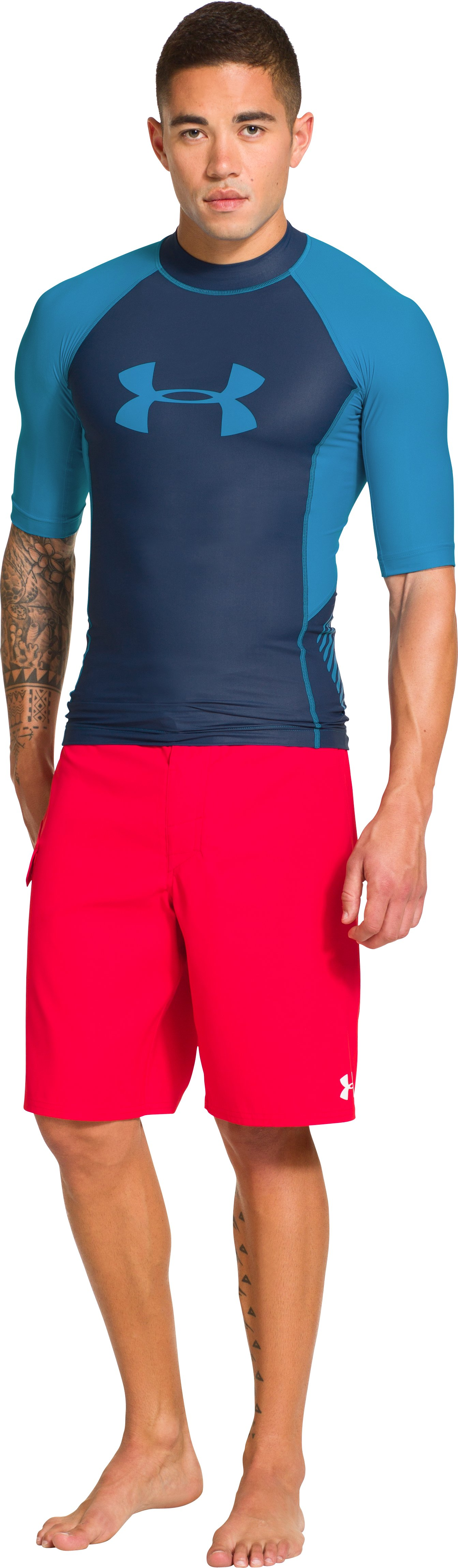 Men's UA Entendre Short Sleeve Rash Guard, Indigo, Front