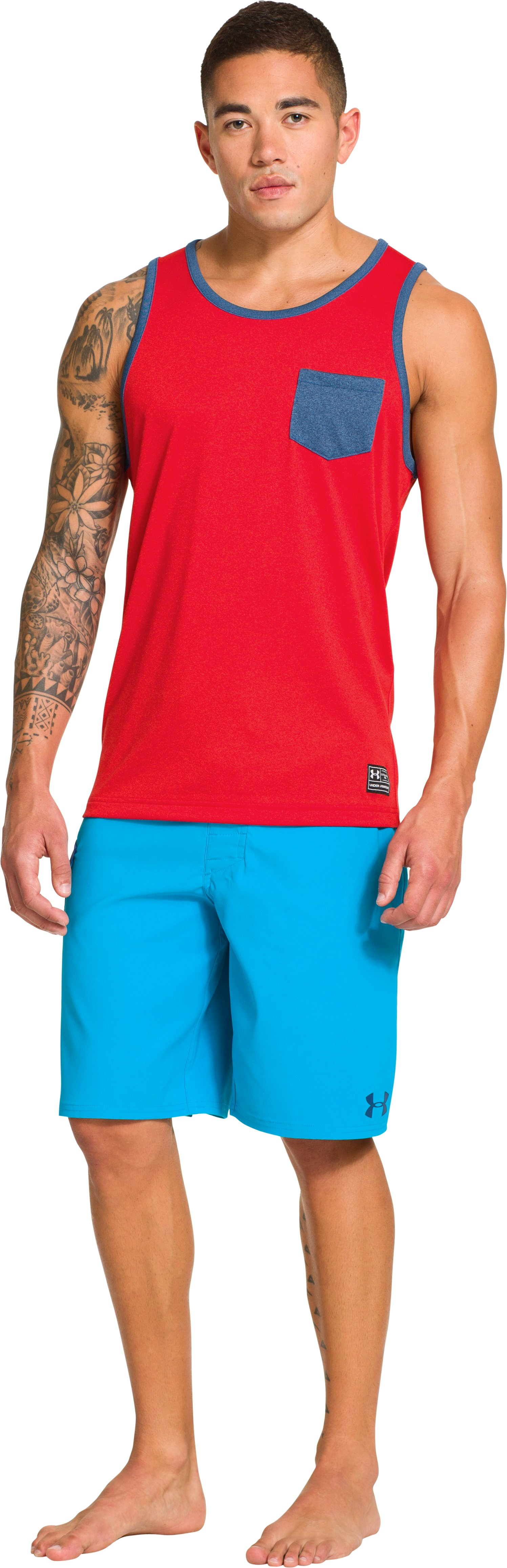 Men's UA Hut 1 Tank, REDNASTY, Front