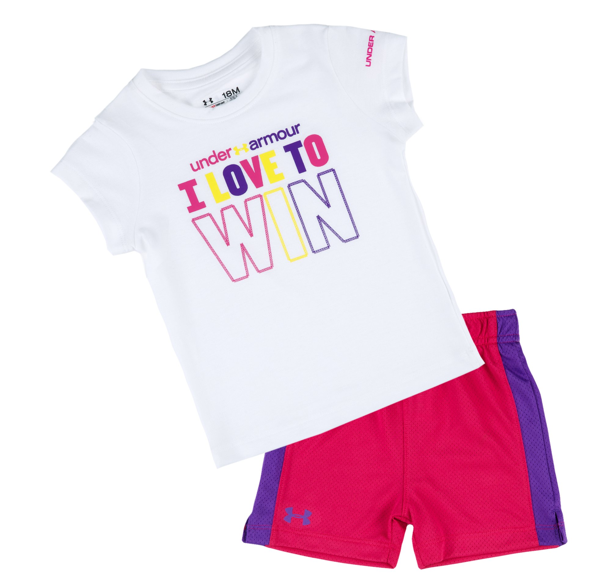 Girls' Infant UA Win T-Shirt Set, White, Laydown