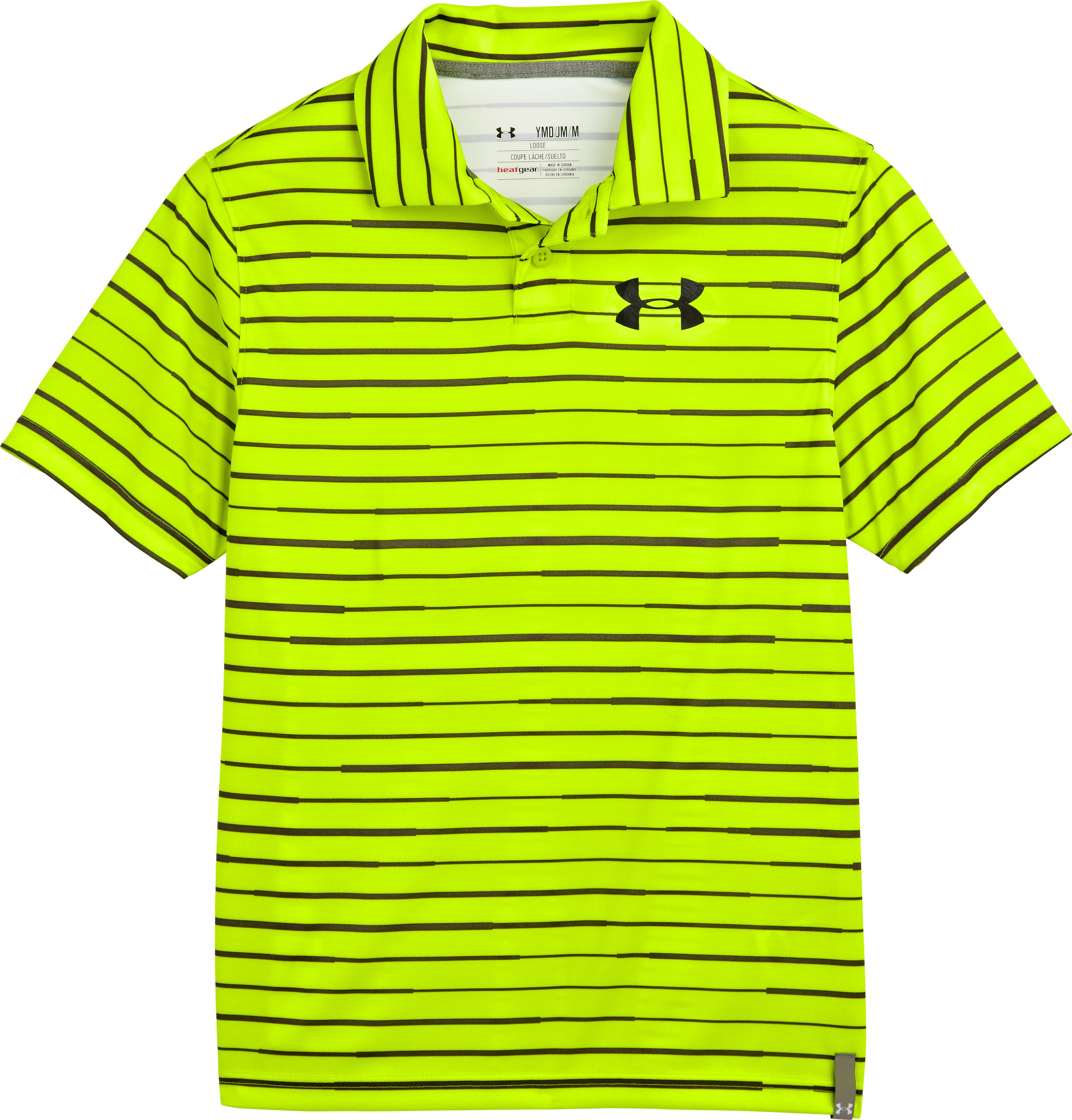 Boys' UA Seismic Strip Polo, High-Vis Yellow, Laydown