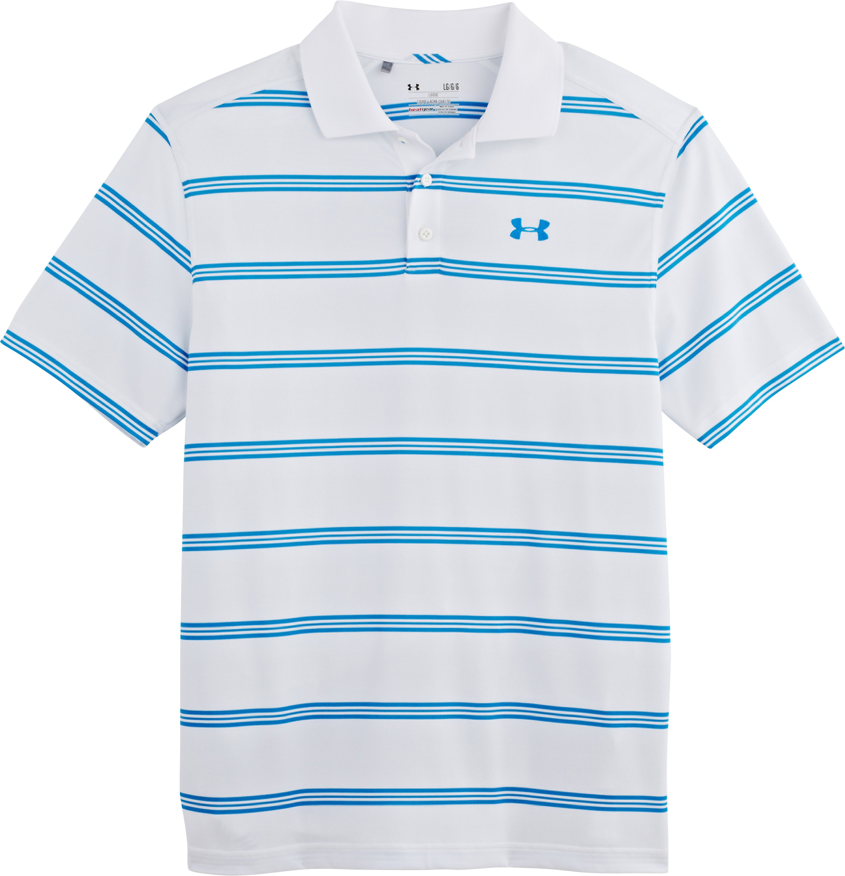 Men's UA Fade Stripe Polo, White, Laydown