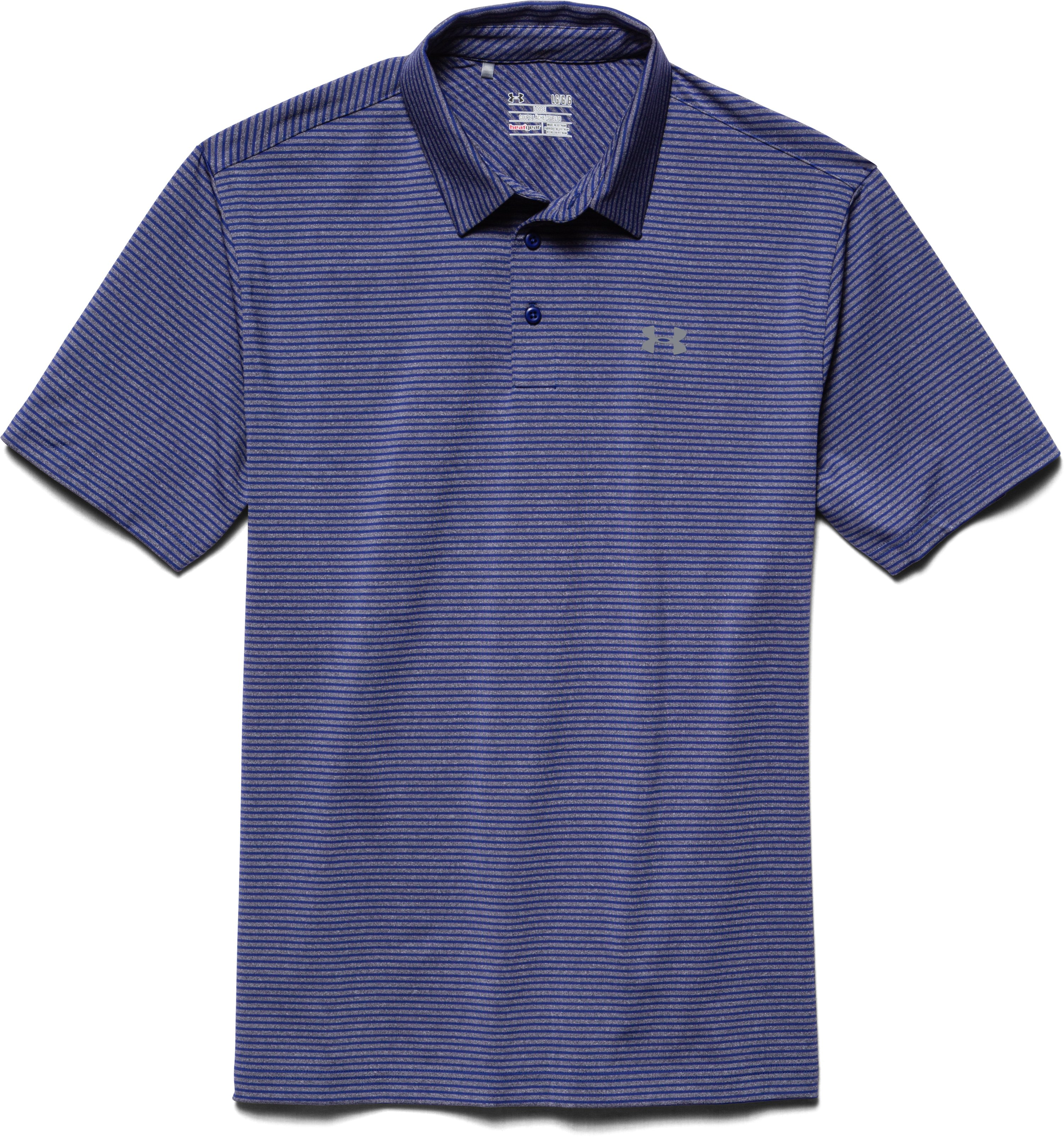 Men's UA Elevated Heather Stripe Polo, AMERICAN BLUE, Laydown