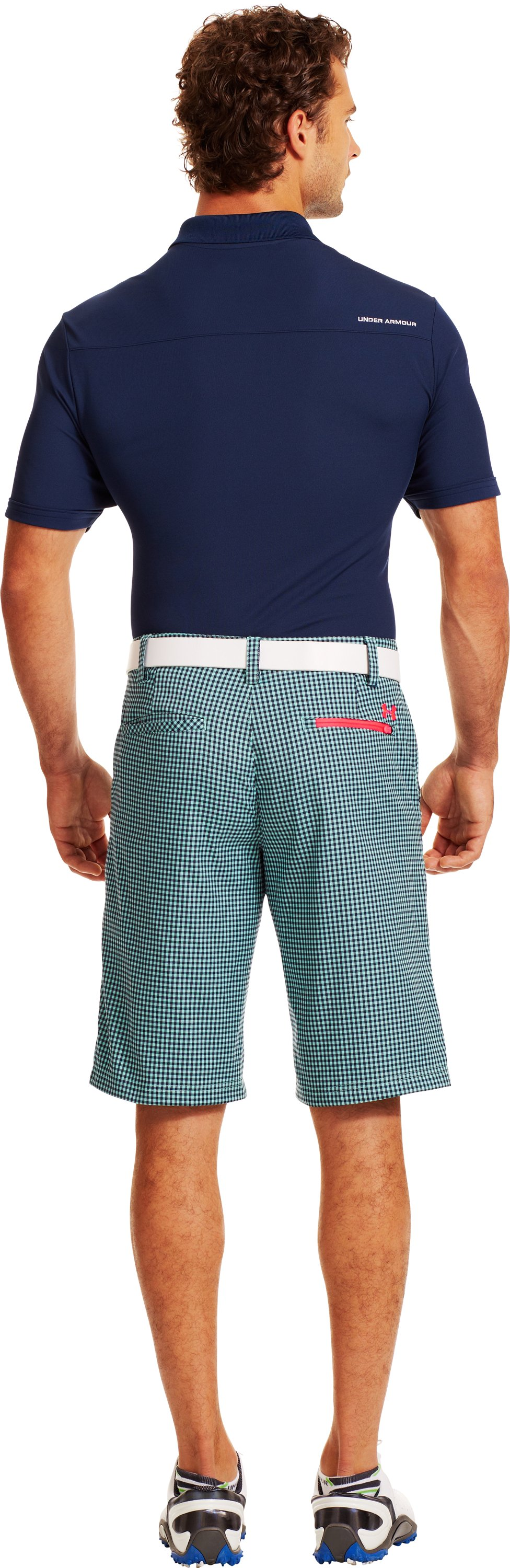 Men's UA Gingham Plaid Golf Shorts, MINT, Back