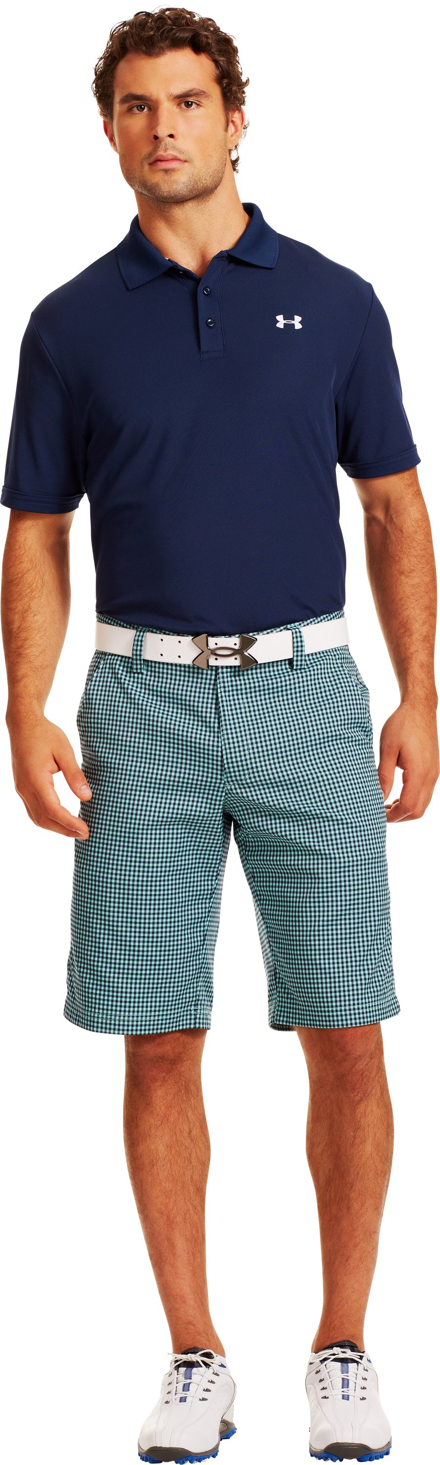 Men's UA Gingham Plaid Golf Shorts, MINT, Front