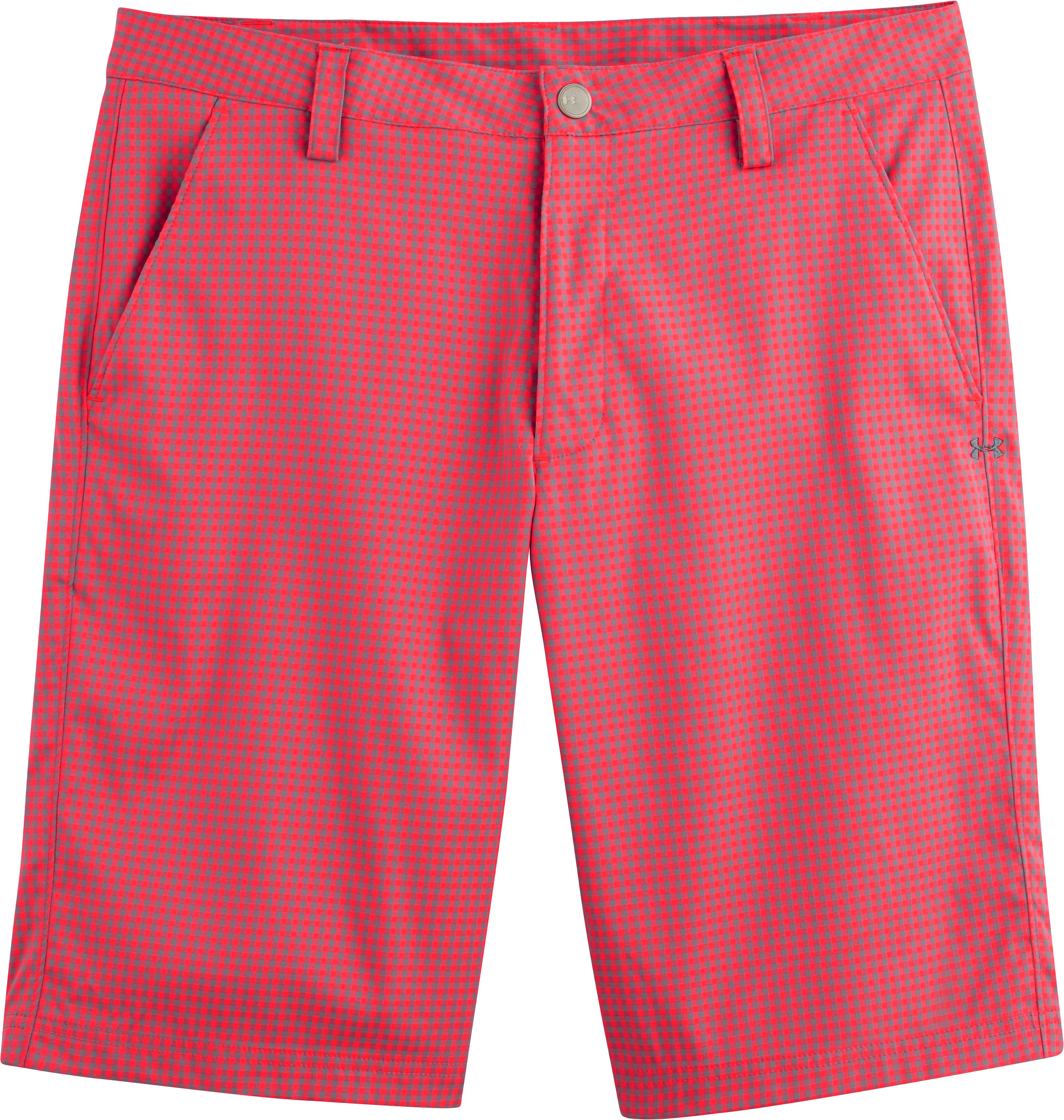 Men's UA Gingham Plaid Golf Shorts, Neo Pulse, Laydown