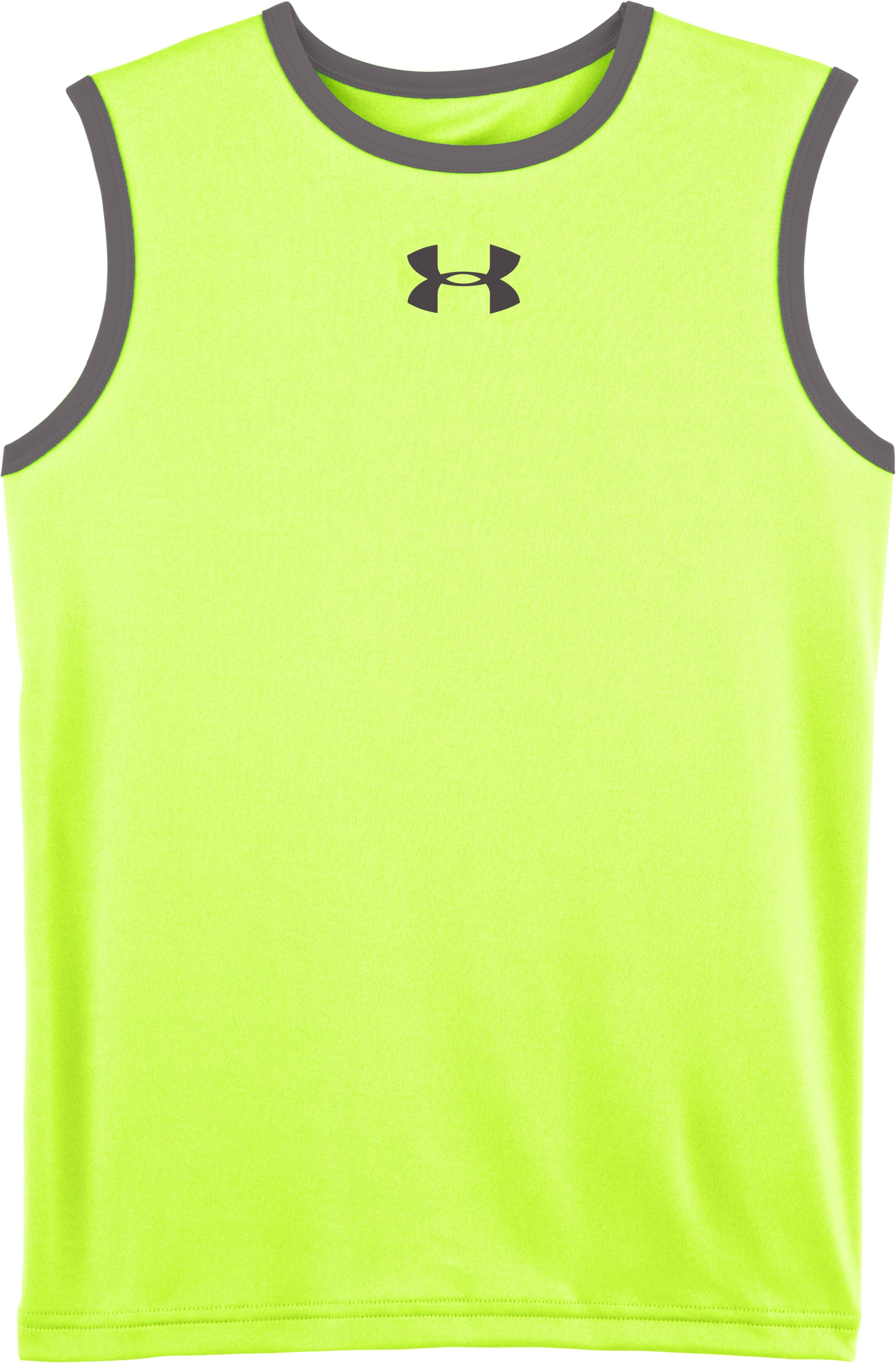 Boys' UA Done Done Done Sleeveless T-Shirt, High-Vis Yellow, Laydown