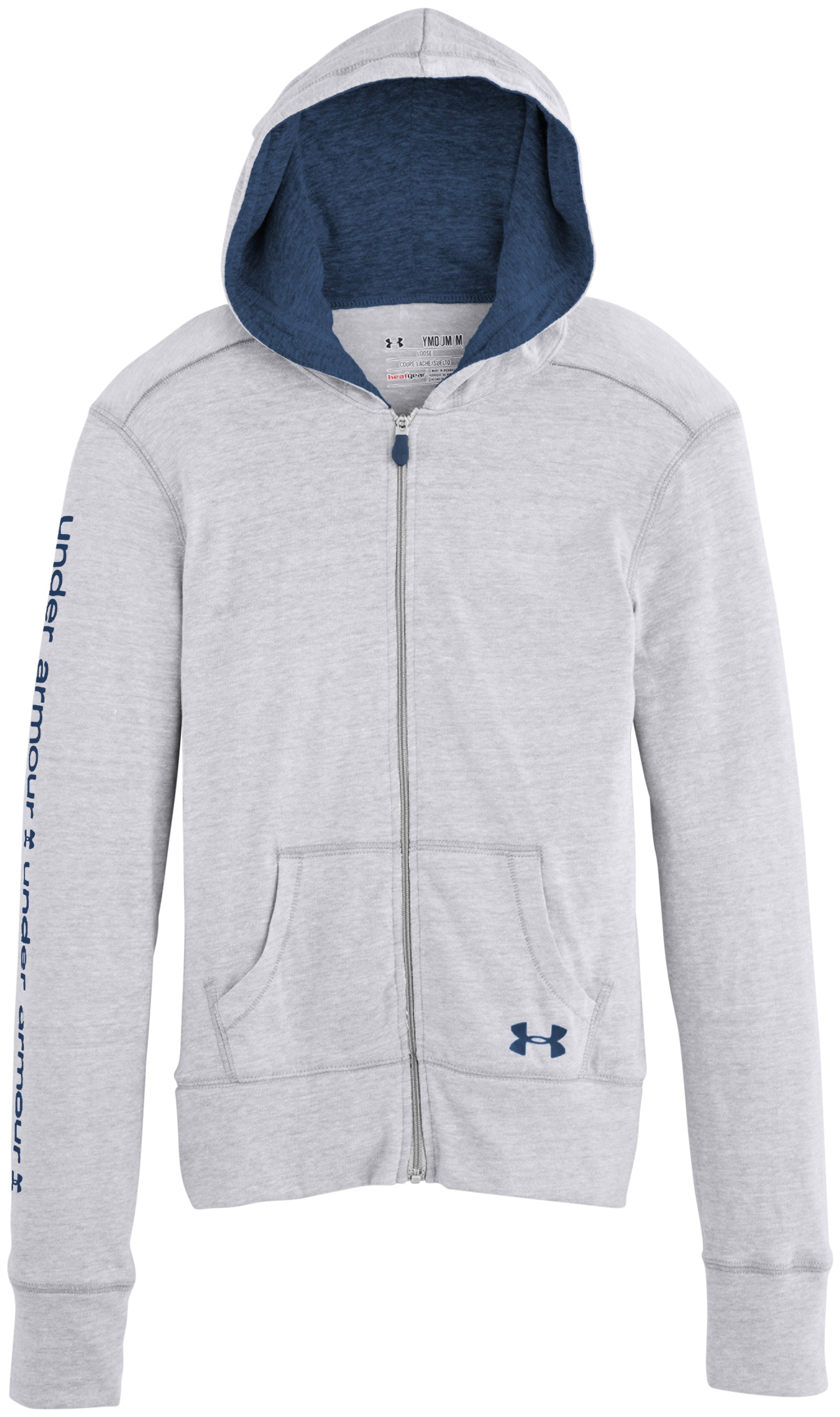 Girls' UA Tri-Blend Full Zip Hoodie, Silver Heather, Laydown