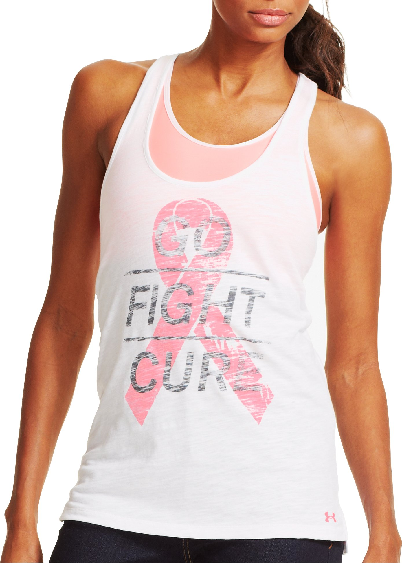 Women's UA Power In Pink® Go Fight Cure Tank, White, zoomed image