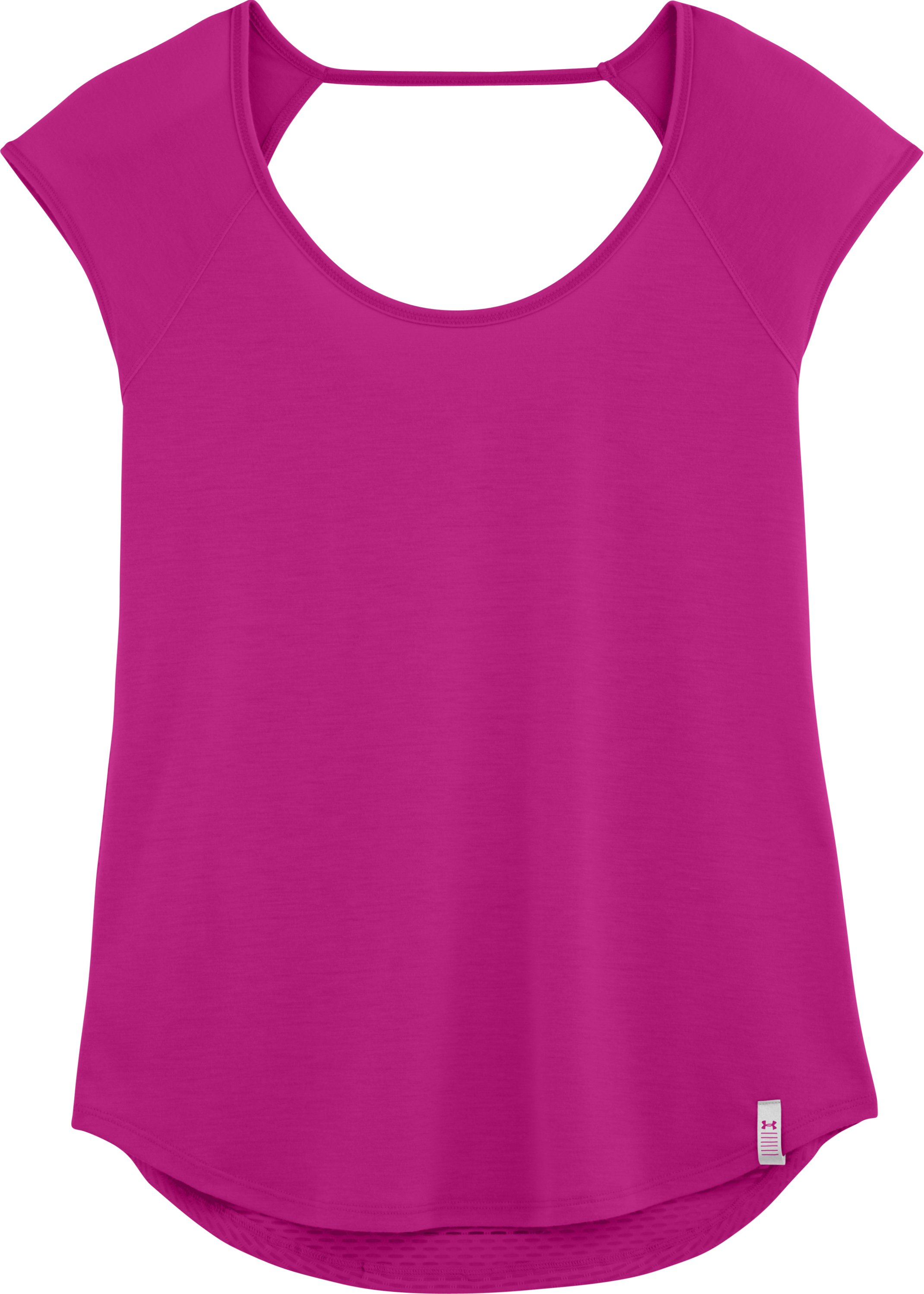 Women's UA Fly-By Short Sleeve, MAGENTA SHOCK, Laydown